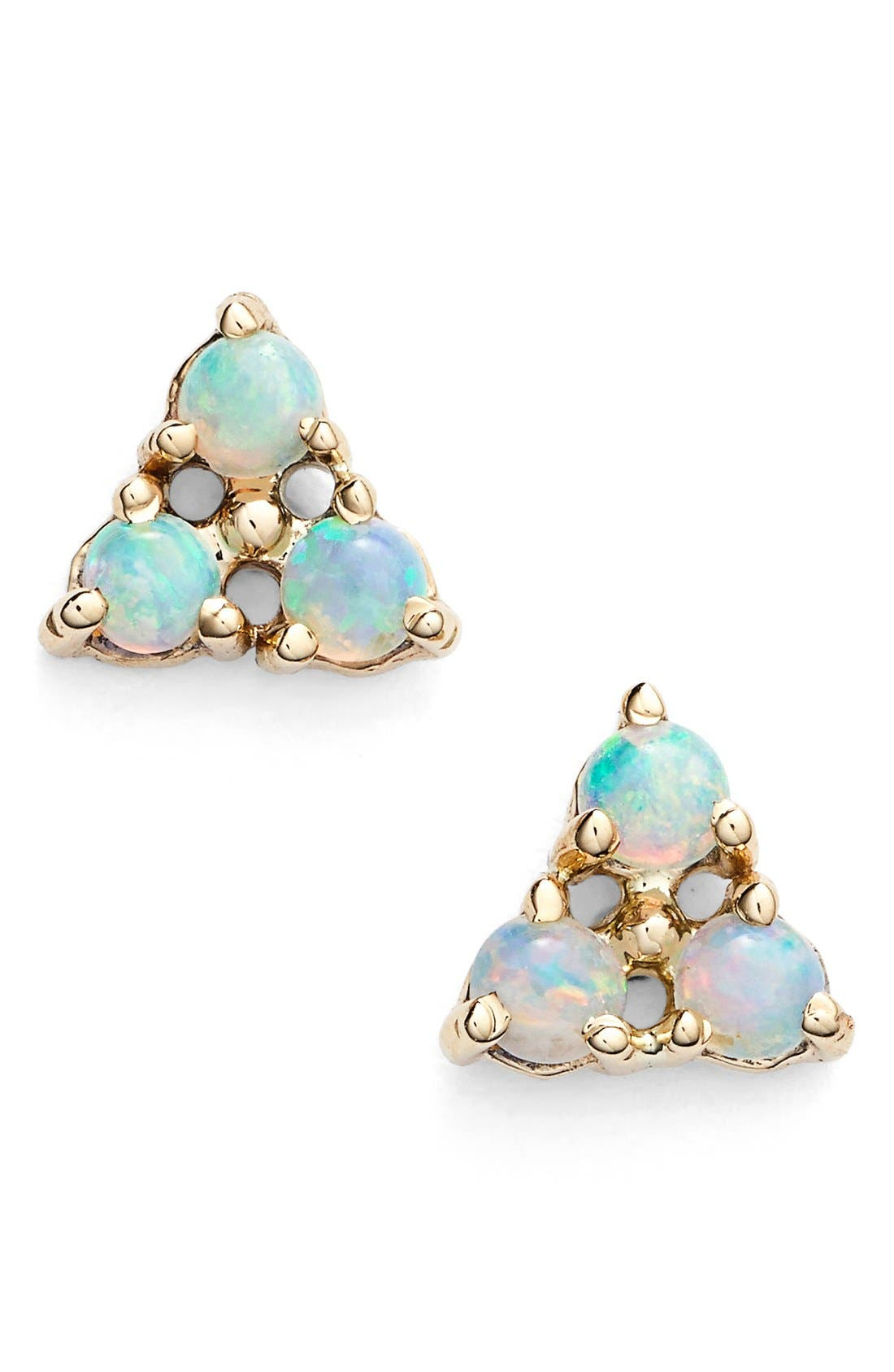 WWAKE Triangle Opal Earrings in Yellow Gold