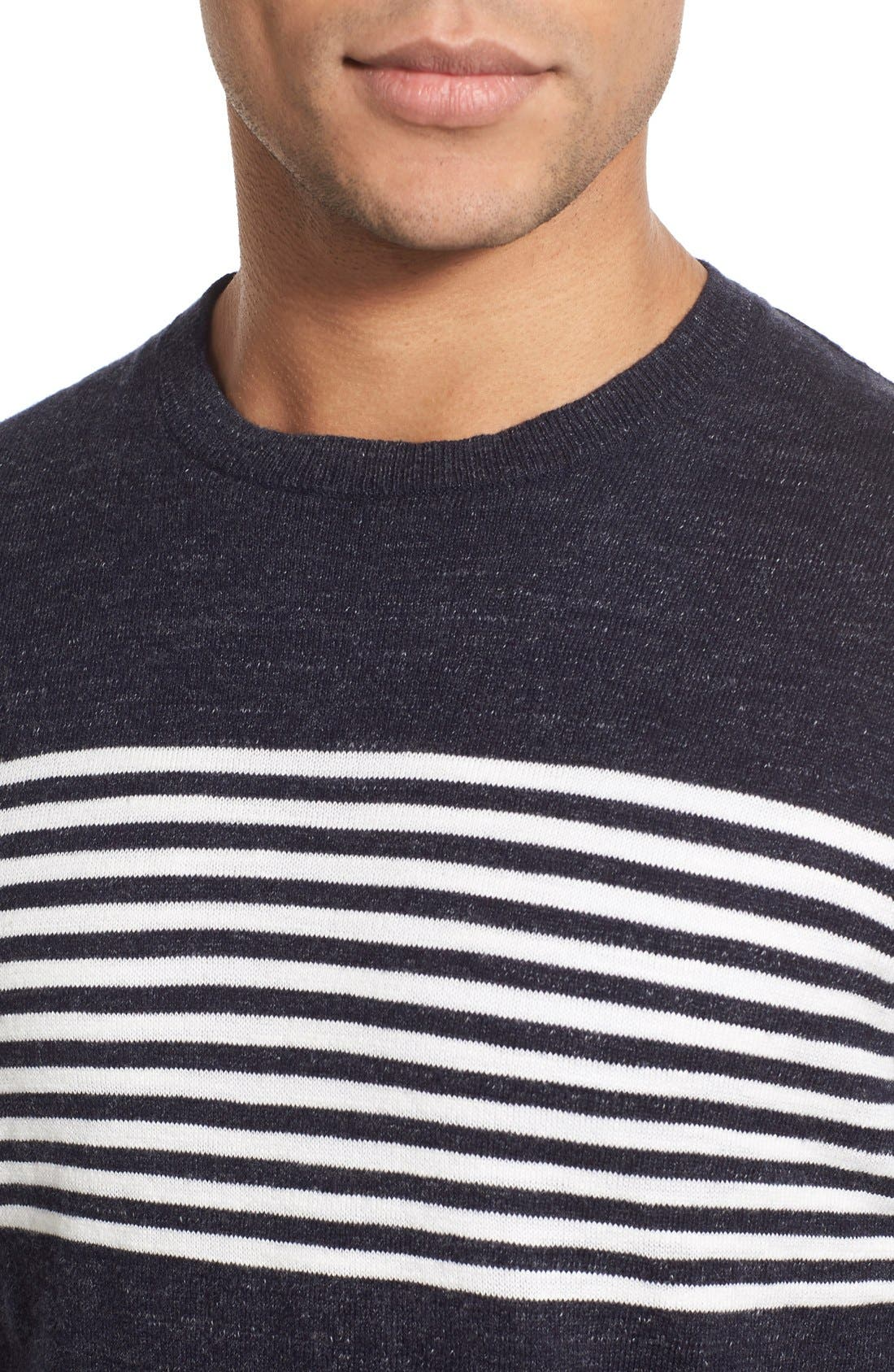 'Shore Club' Chest Stripe Crewneck Sweater,                             Alternate thumbnail 4, color,                             Navy