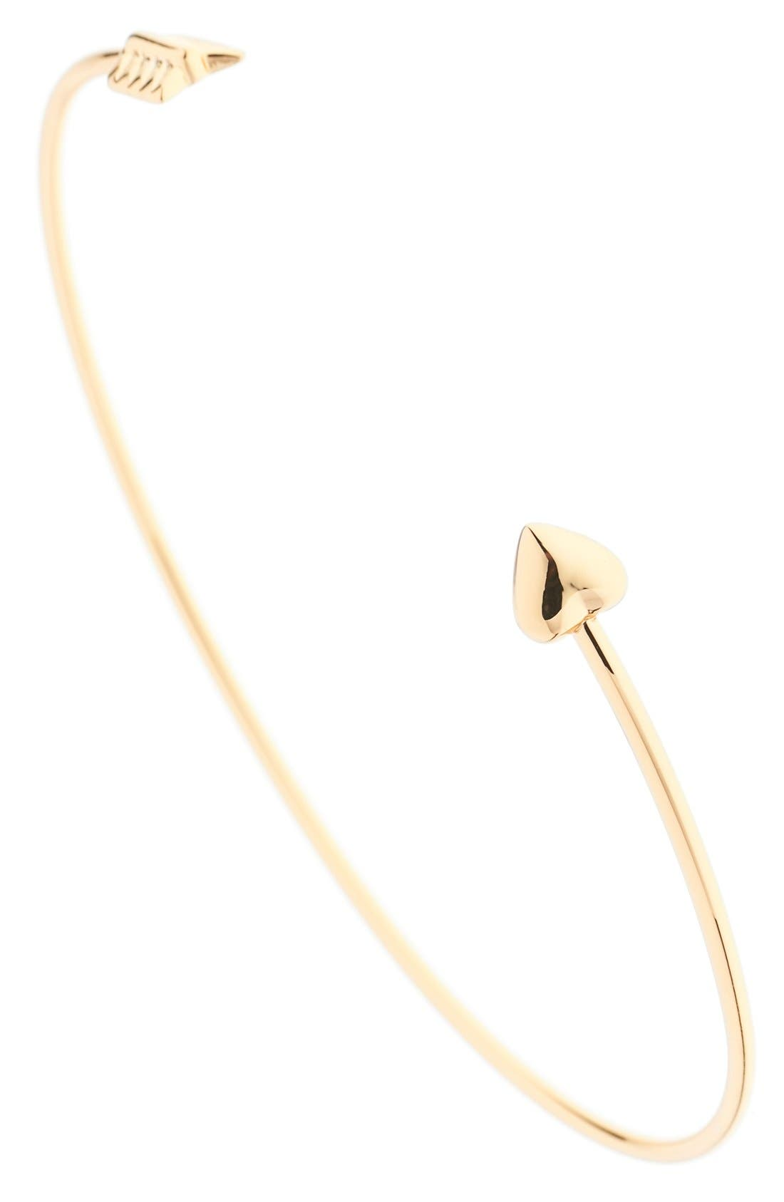 'Cupid's Arrow' Open Cuff,                             Alternate thumbnail 2, color,                             Gold