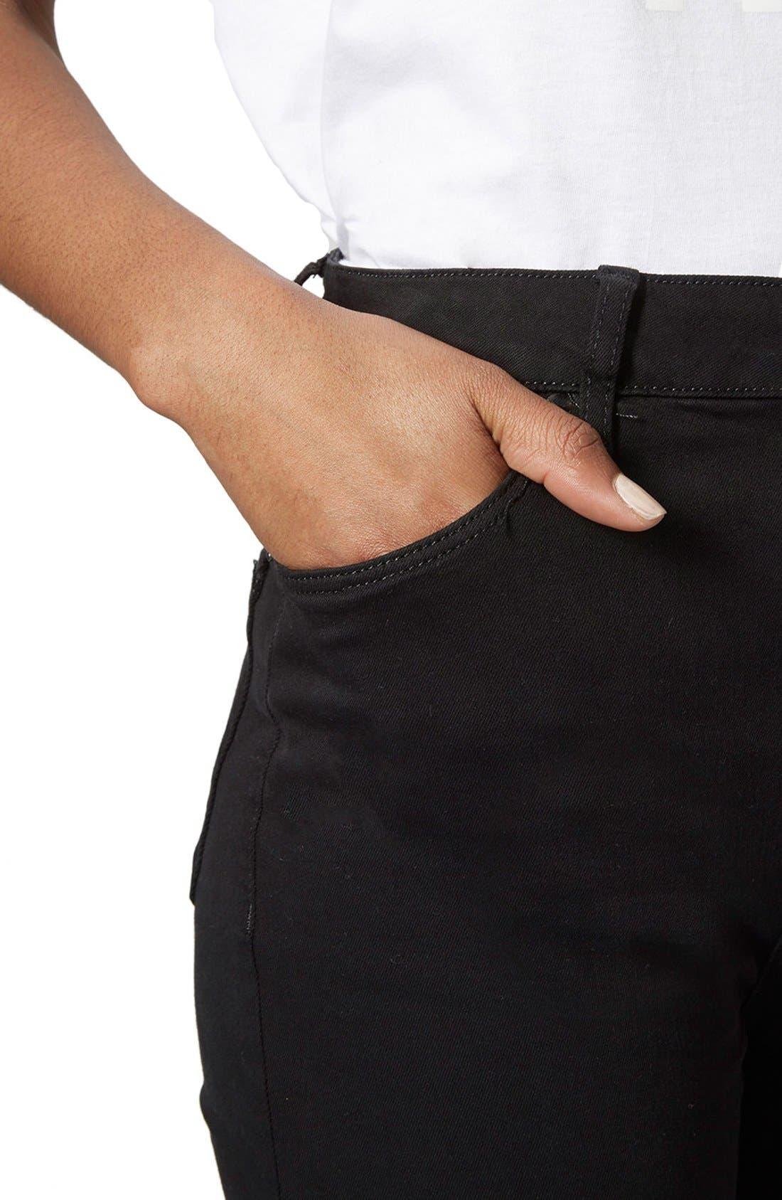 Moto 'Jamie' High Rise Skinny Jeans,                             Alternate thumbnail 5, color,                             Black