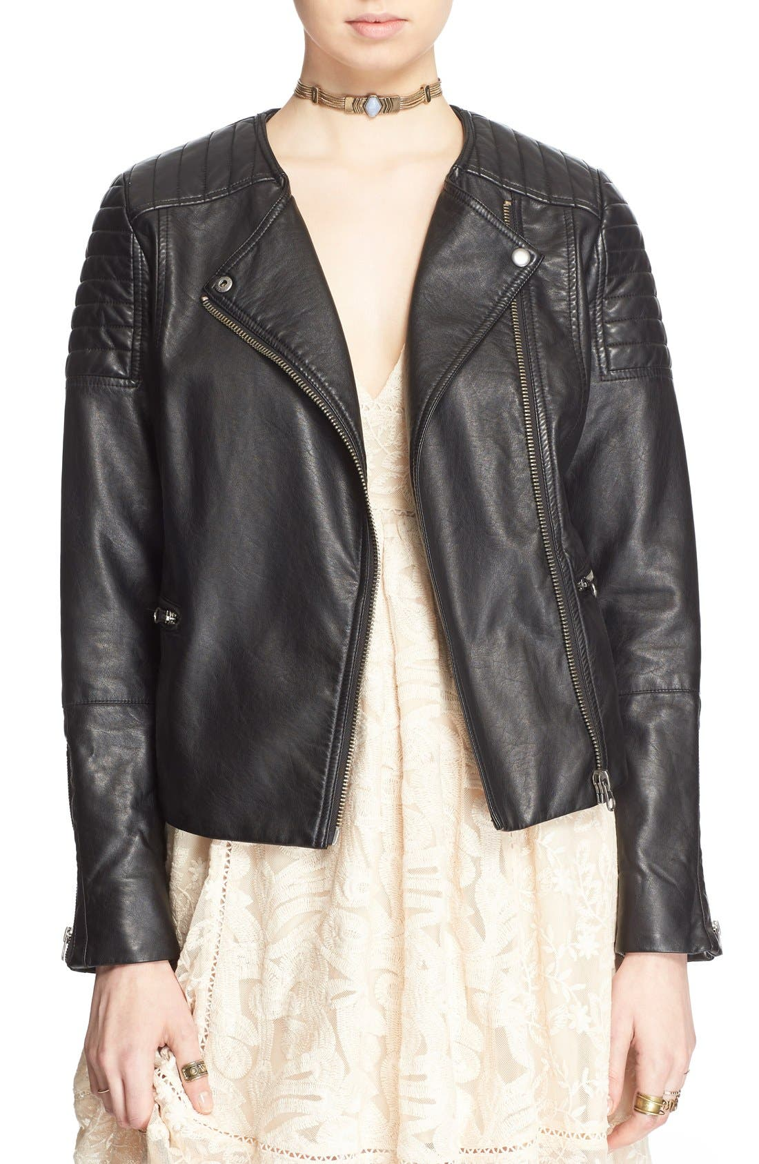 'Exclusive' Faux Leather Jacket,                             Main thumbnail 1, color,                             Black