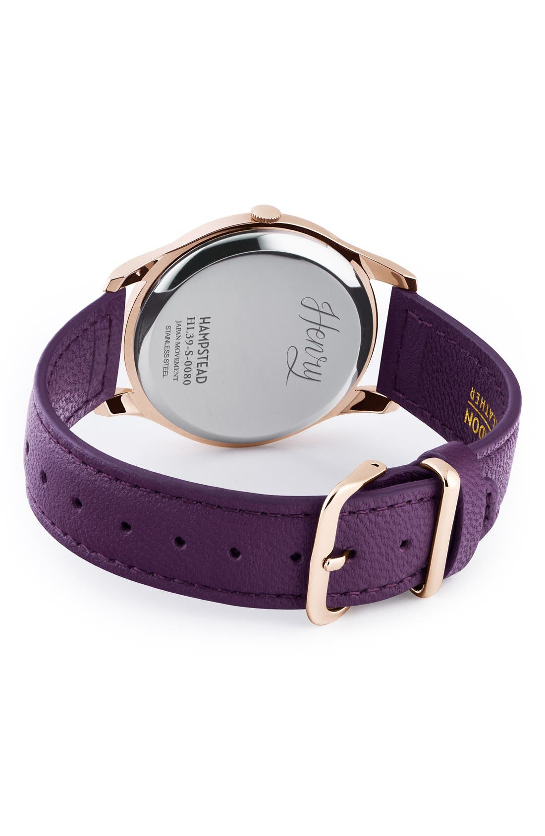 'Hampstead' Leather Strap Watch, 39mm,                             Alternate thumbnail 2, color,                             Berry/ Berry