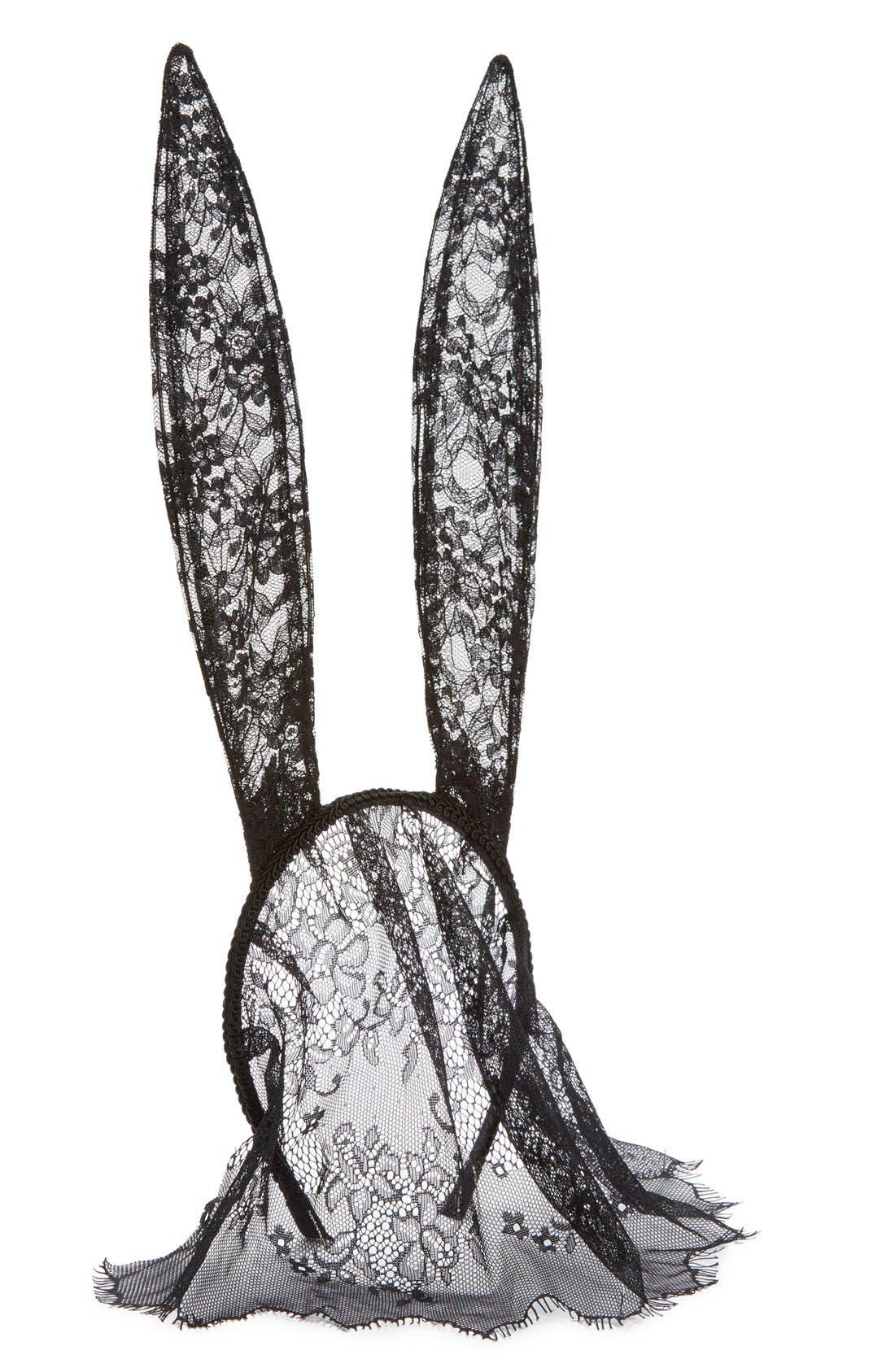 Alternate Image 2  - Cara Bunny Ear Headband with Lace Veil