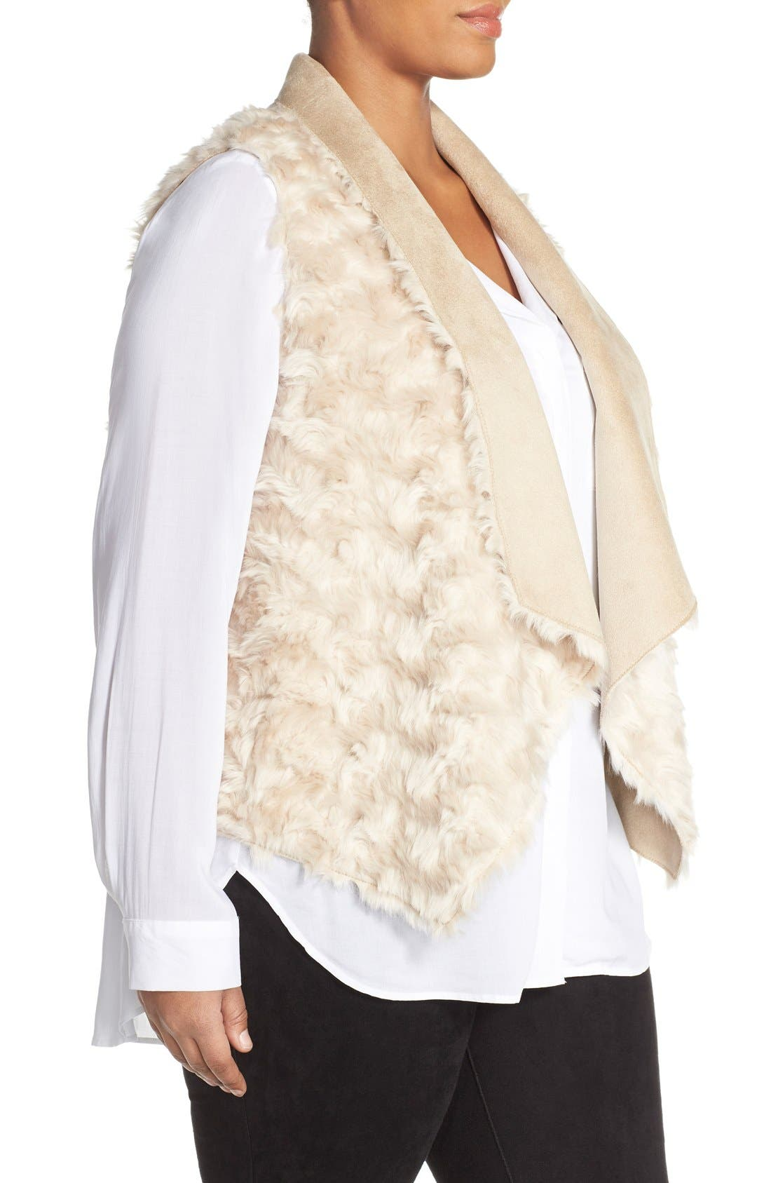 'Sheri' Drape Front Faux Fur Vest,                             Alternate thumbnail 3, color,                             Light Taupe