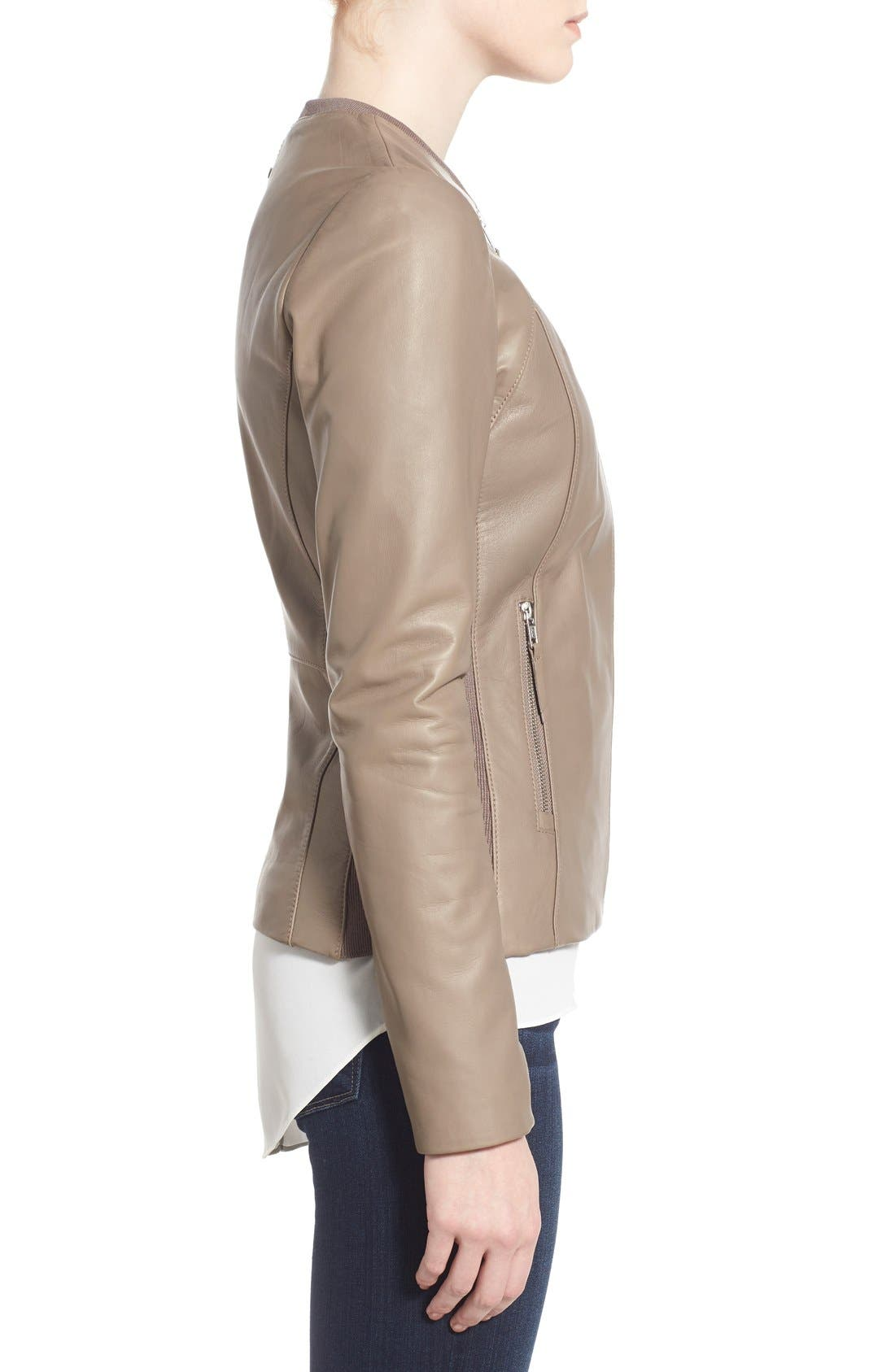 Alternate Image 3  - Soia & Kyo Slim Fit Zip Front Leather Jacket