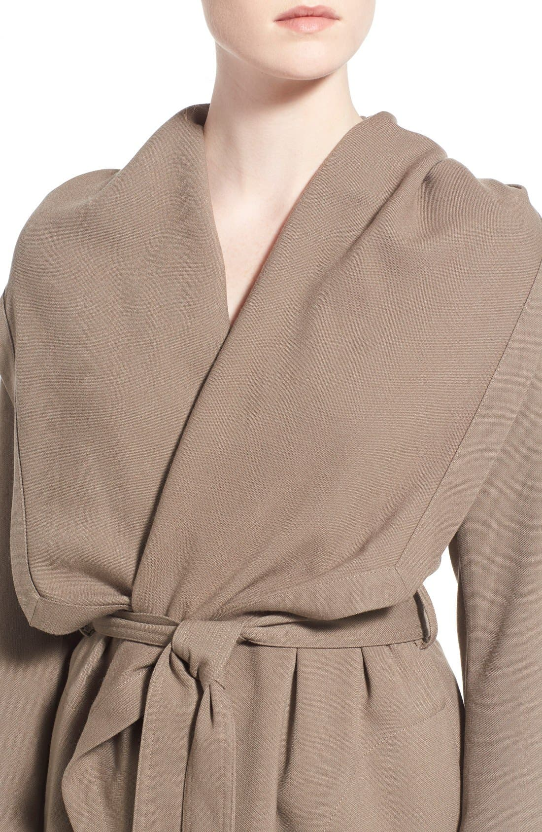 Alternate Image 4  - Soia & Kyo Hip Length Drapey Hooded Wrap Coat