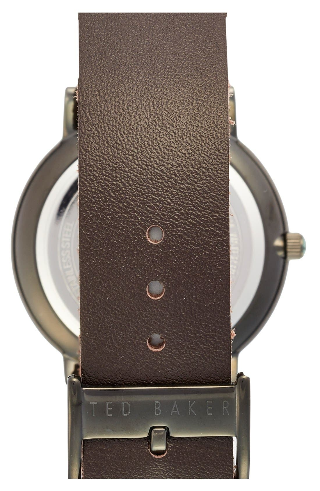 Leather Strap Watch, 40mm,                             Alternate thumbnail 2, color,                             Brown/ Gunmetal