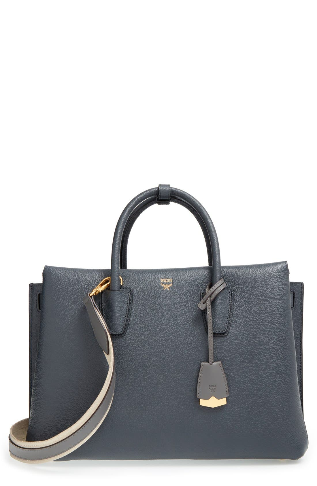 'Large Milla' Leather Tote,                             Main thumbnail 1, color,                             Phantom Grey
