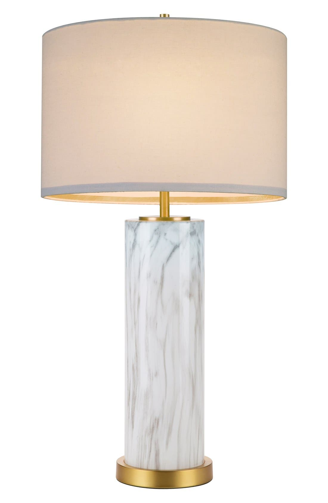 Marble Column Table Lamp,                         Main,                         color, Grey White