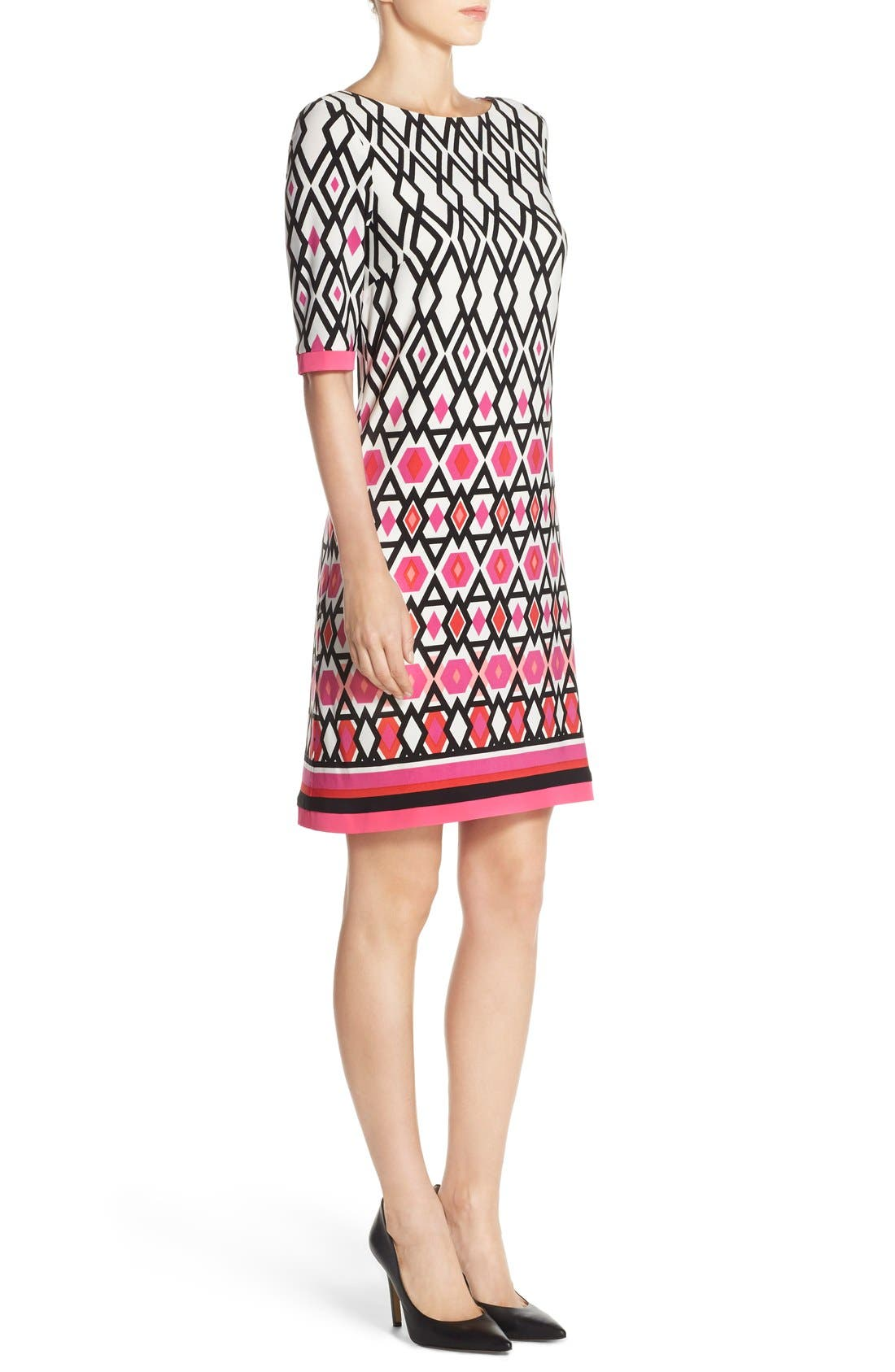 Print Jersey Sheath Dress,                             Alternate thumbnail 3, color,                             Pink Print