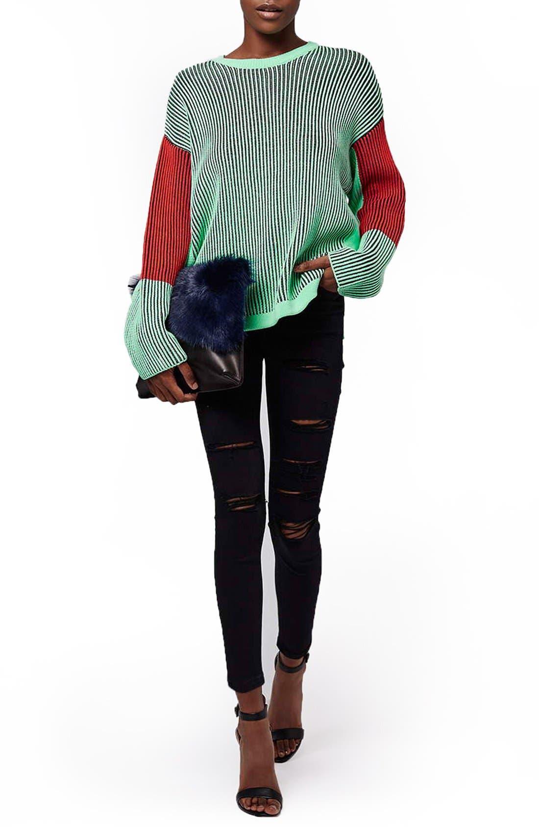 Alternate Image 2  - Topshop Moto 'Jamie' Ripped Skinny Jeans (Black) (Petite)