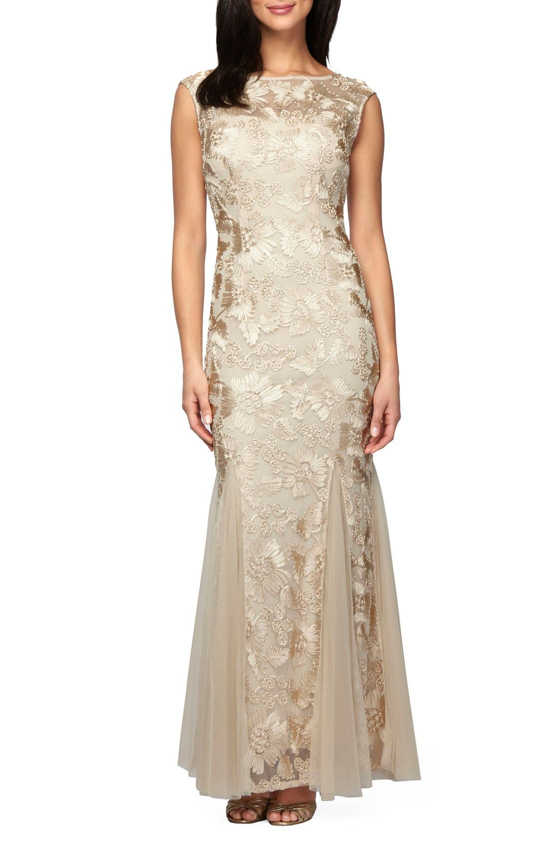 Tulle Mermaid Gown,                         Main,                         color, Champagne