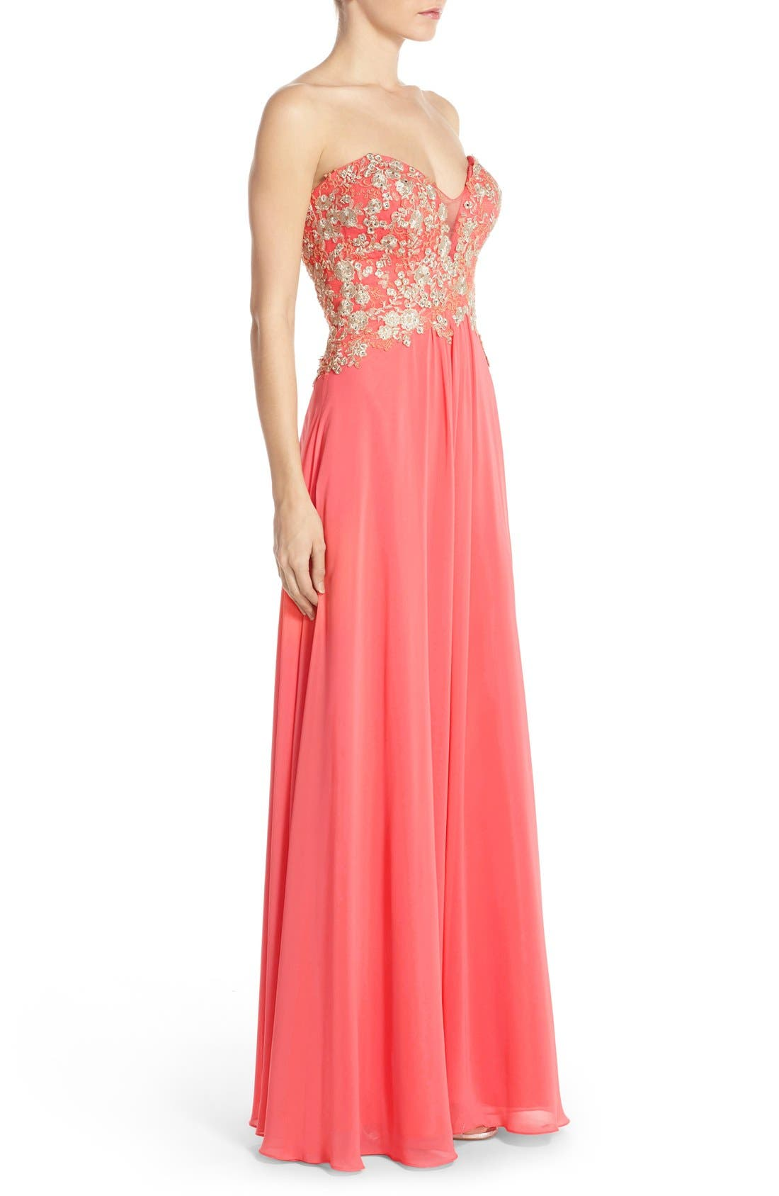 Alternate Image 3  - Faviana Embroidered Chiffon Gown