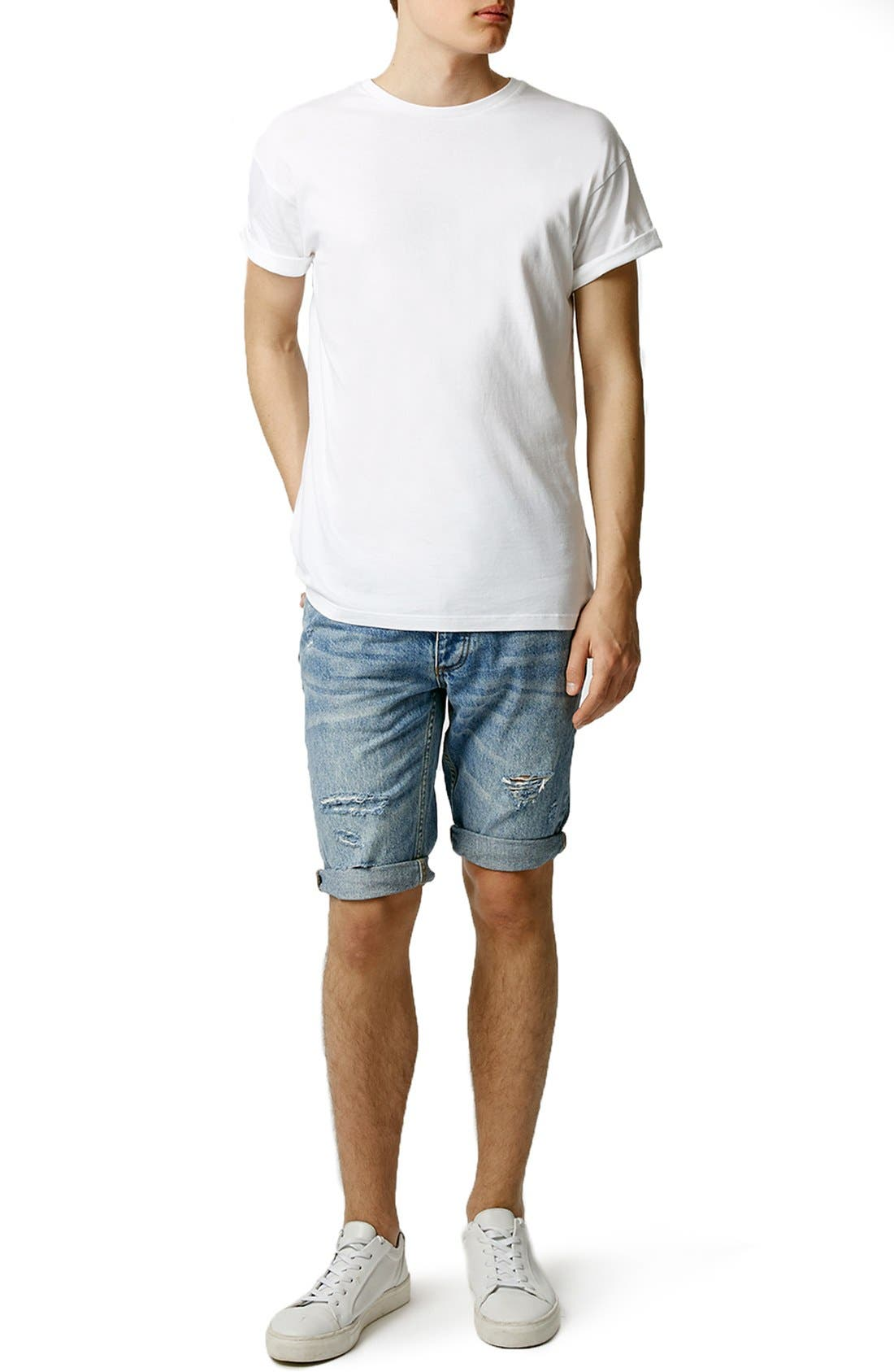 Alternate Image 5  - Topman Ripped Skinny Fit Denim Shorts