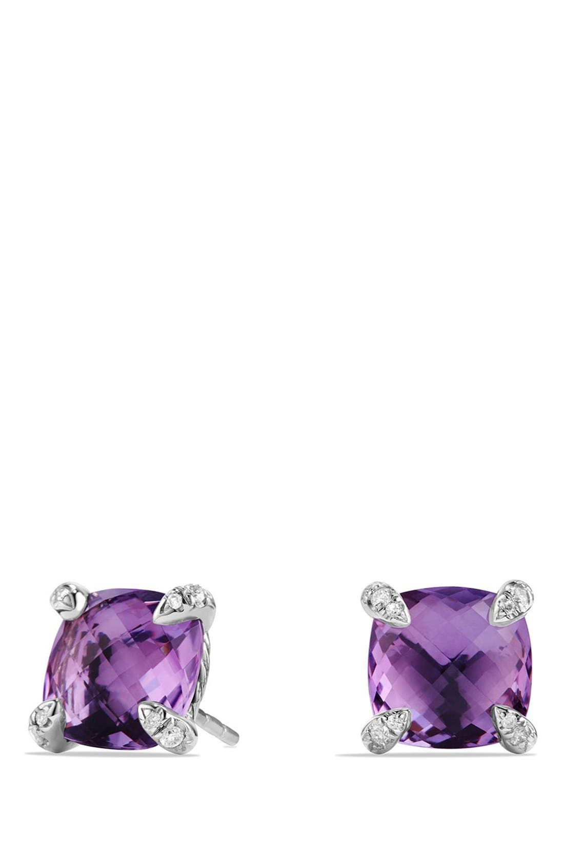 'Châtelaine' Earrings with Semiprecious Stones and Diamonds,                         Main,                         color, Silver/ Amethyst