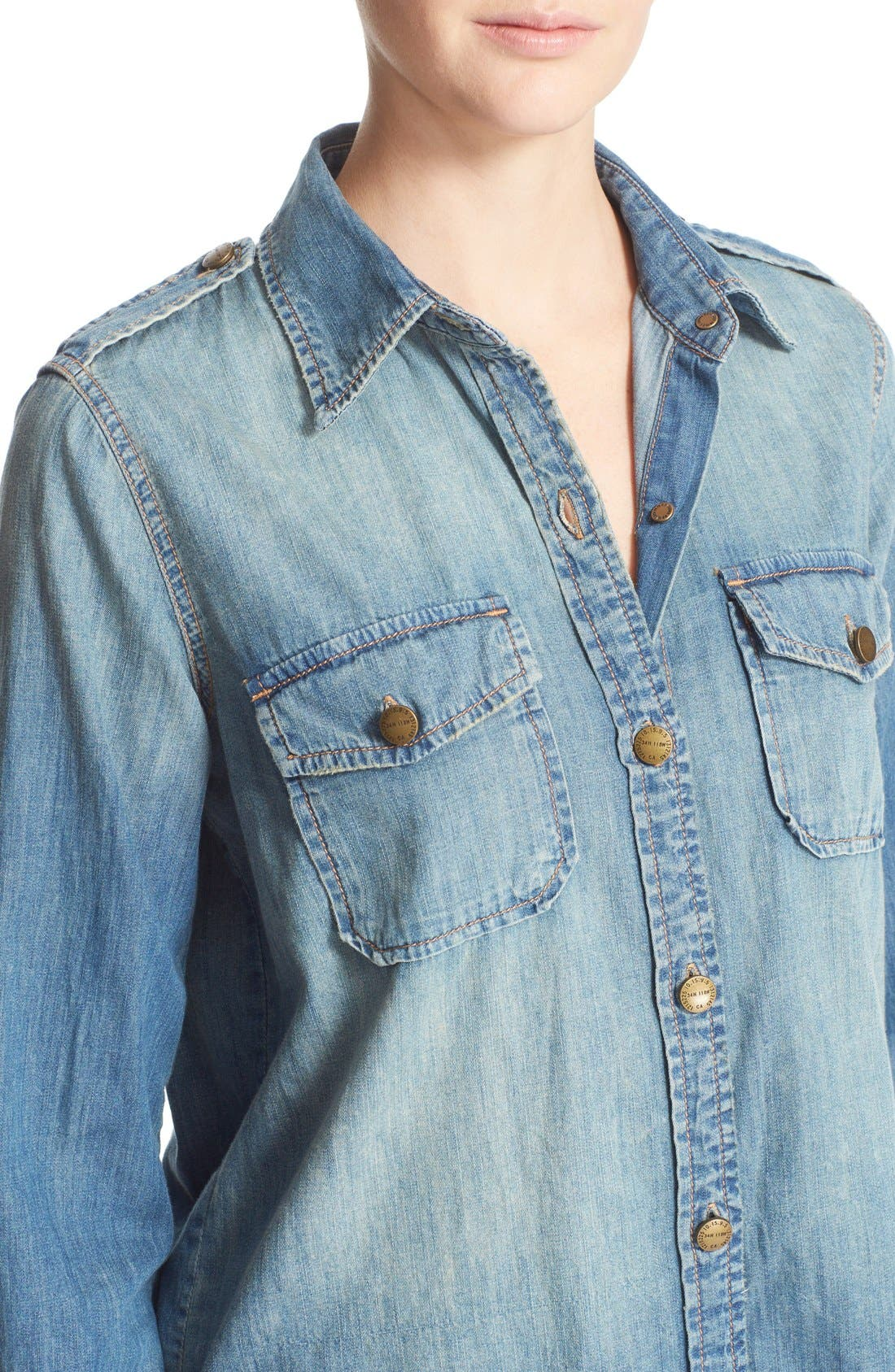 'The Perfect' Button Front Denim Shirt,                             Alternate thumbnail 4, color,                             Miner