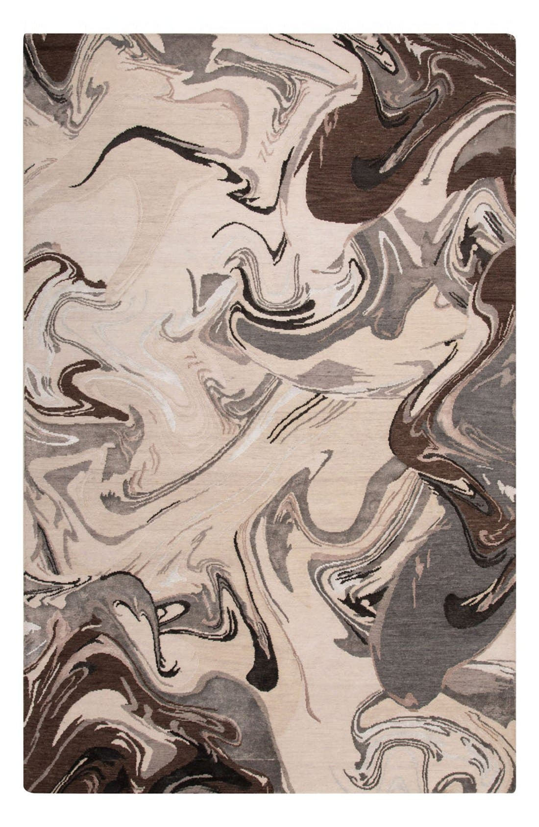 'noho' abstract wool blend rug,                             Main thumbnail 1, color,                             Ivory/ Grey