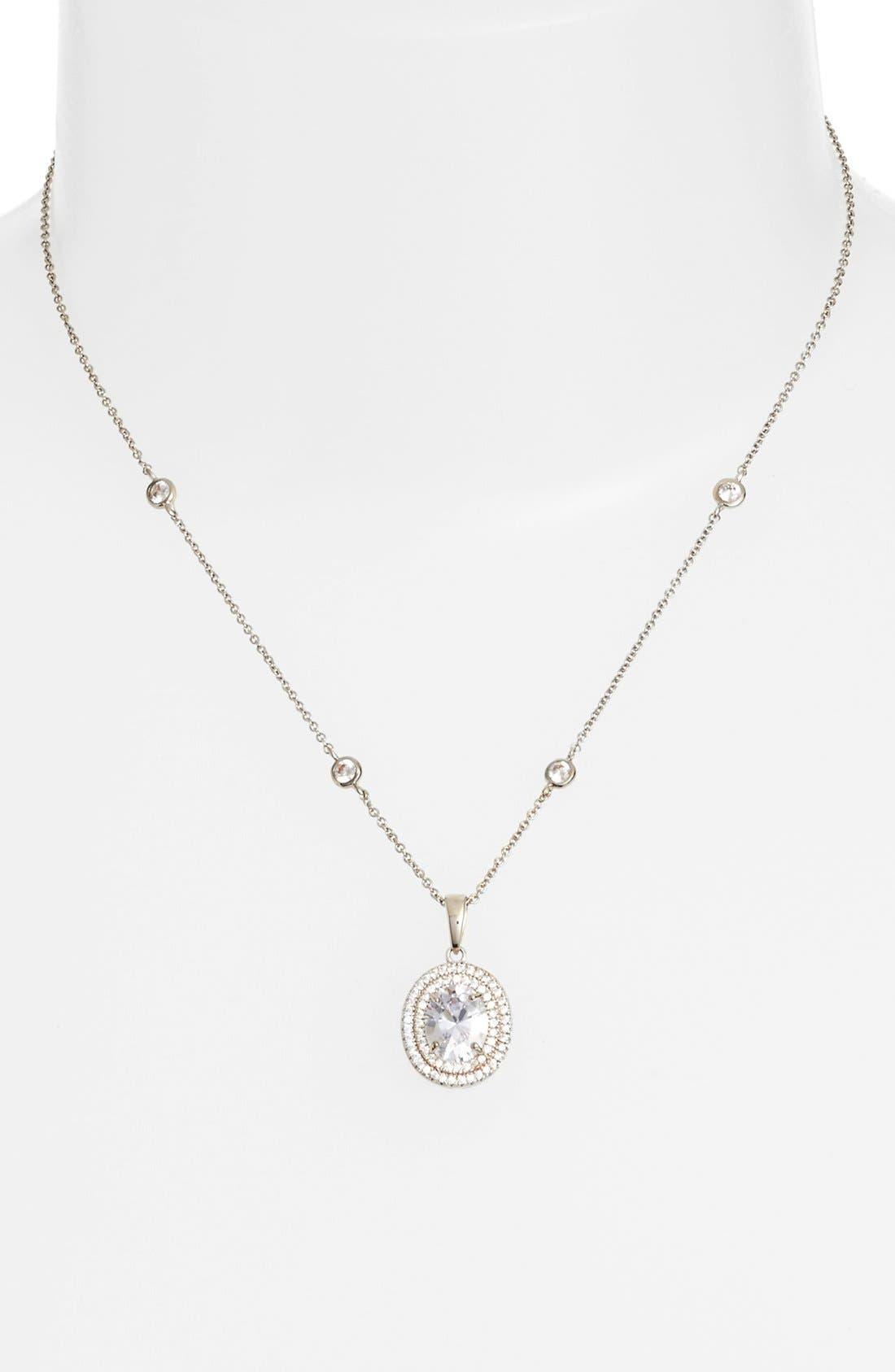 Alternate Image 2  - Nina Double Halo Pendant Necklace