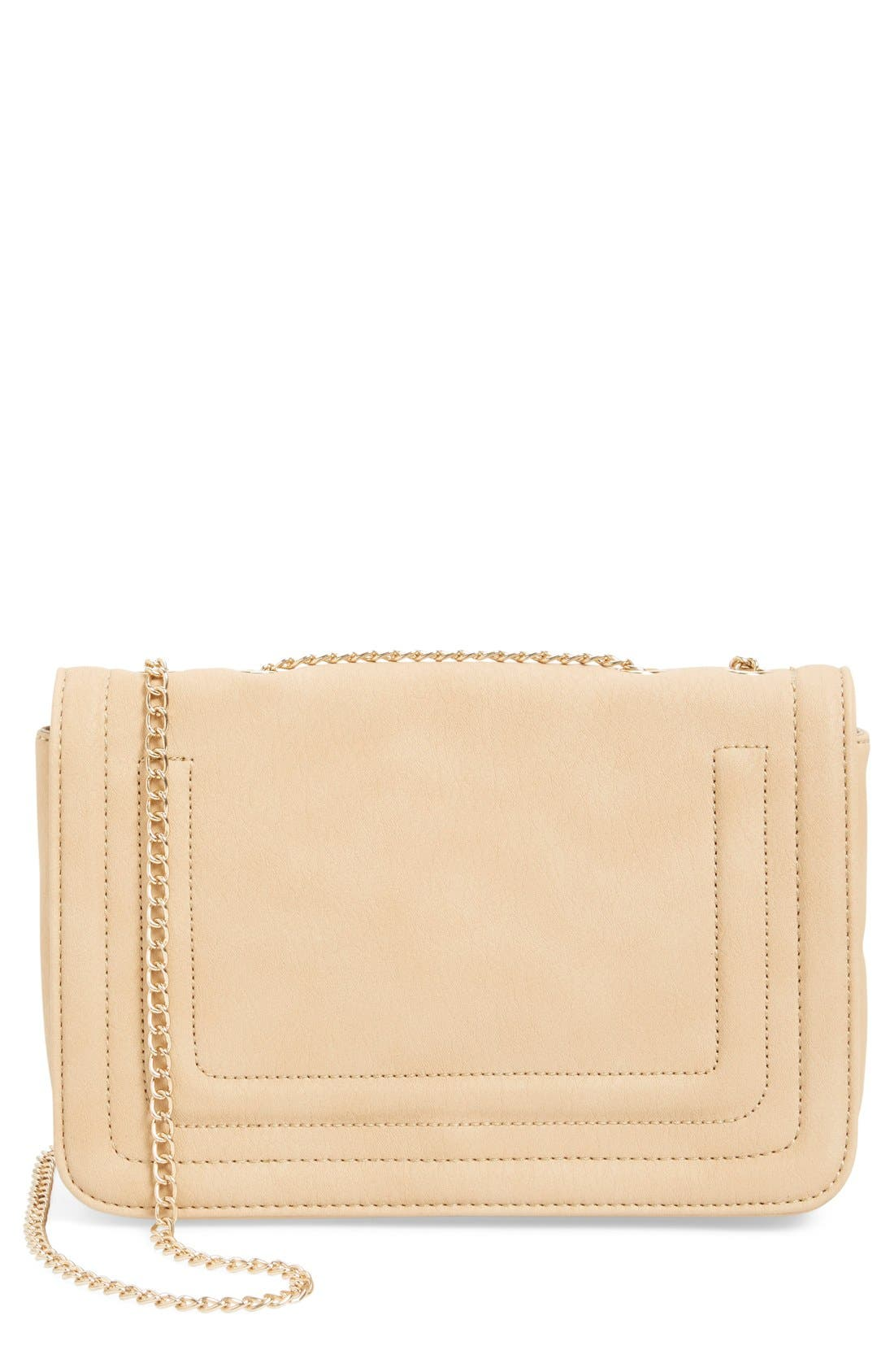 Quilted Faux Leather Crossbody Bag,                         Main,                         color, Nude
