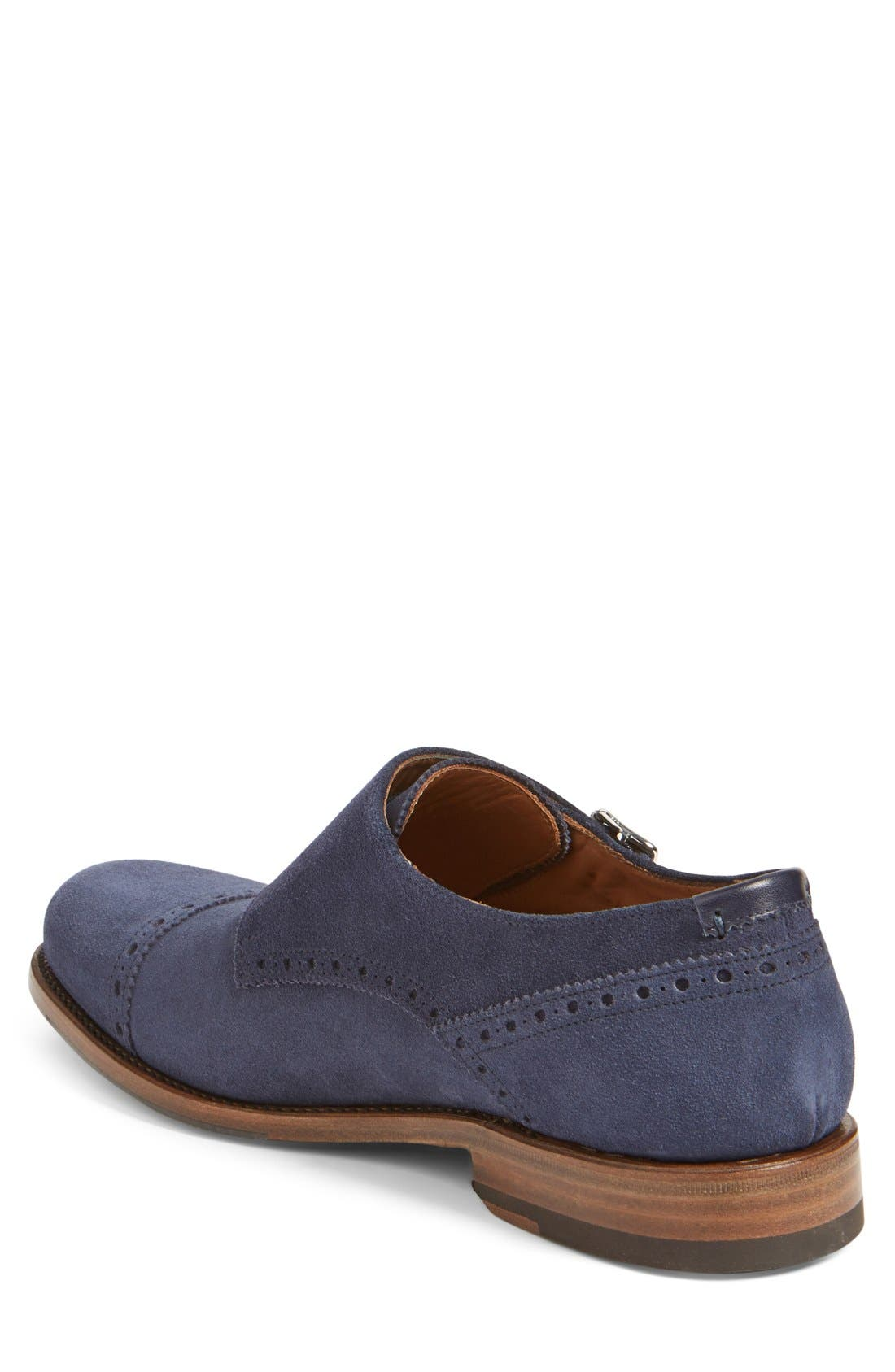 'Fallon' Weatherproof Monk Strap Shoe,                             Alternate thumbnail 2, color,                             Navy Suede