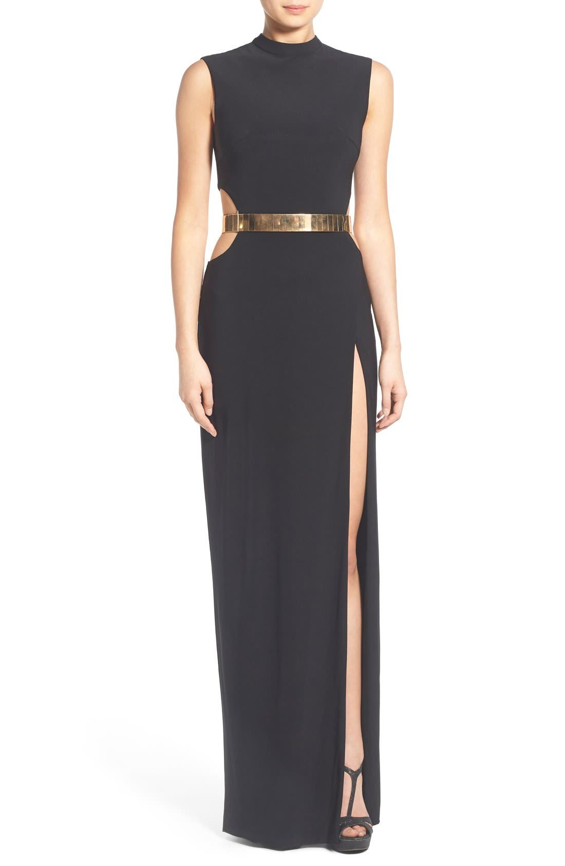 Main Image - Mac Duggal Belted Side Cutout Gown