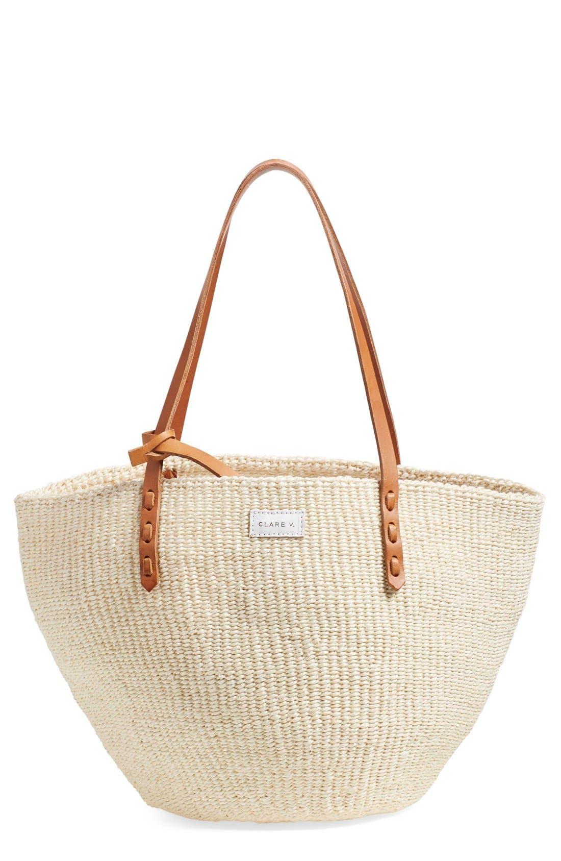 Alternate Image 1 Selected - Clare V. 'Kenya' Sisal Shoulder Bag