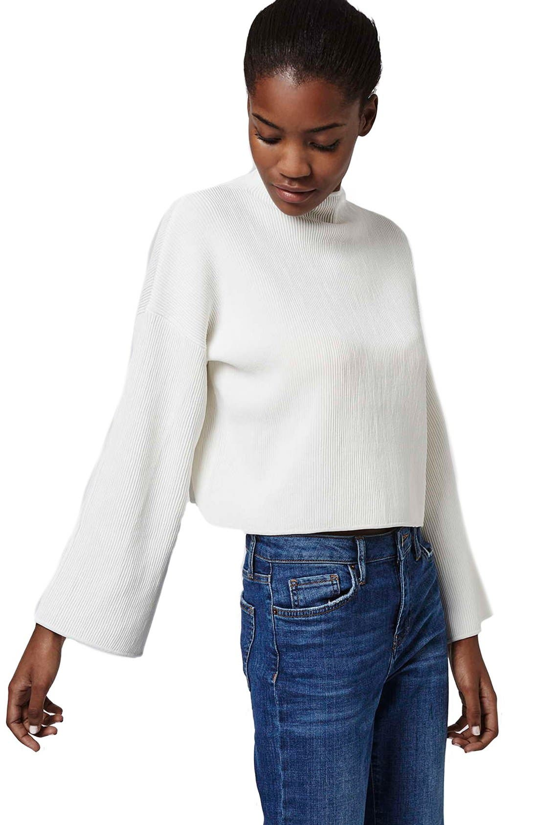 Alternate Image 4  - Topshop Funnel Neck Ribbed Crop Top