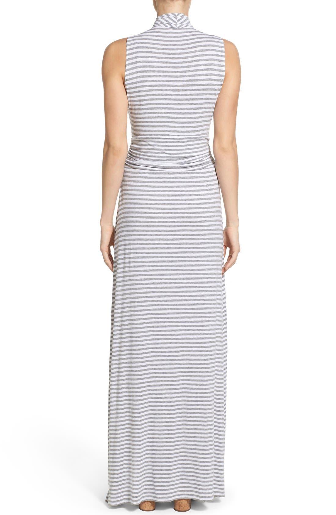 Stripe Jersey Cutaway Shoulder Maxi Dress,                             Alternate thumbnail 2, color,                             Light Heather Grey