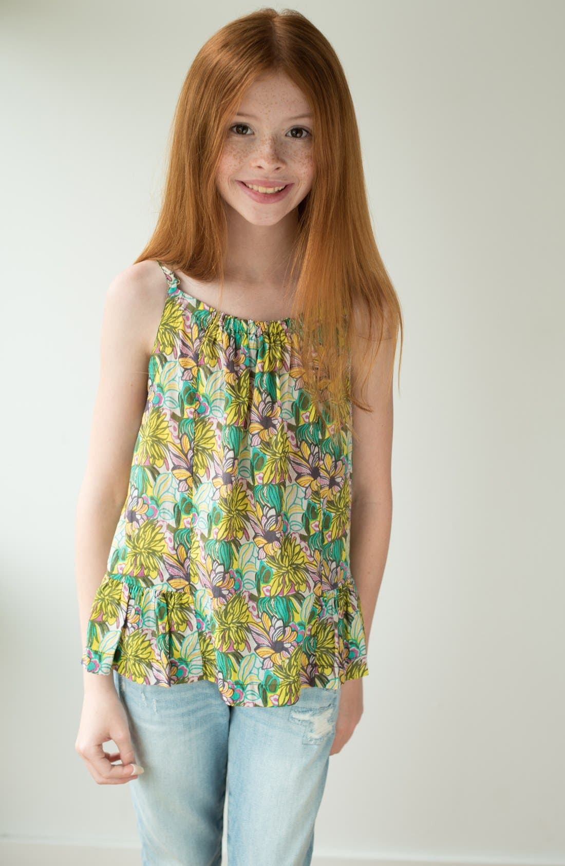 'Riza' Print Tank,                             Alternate thumbnail 3, color,                             Olive