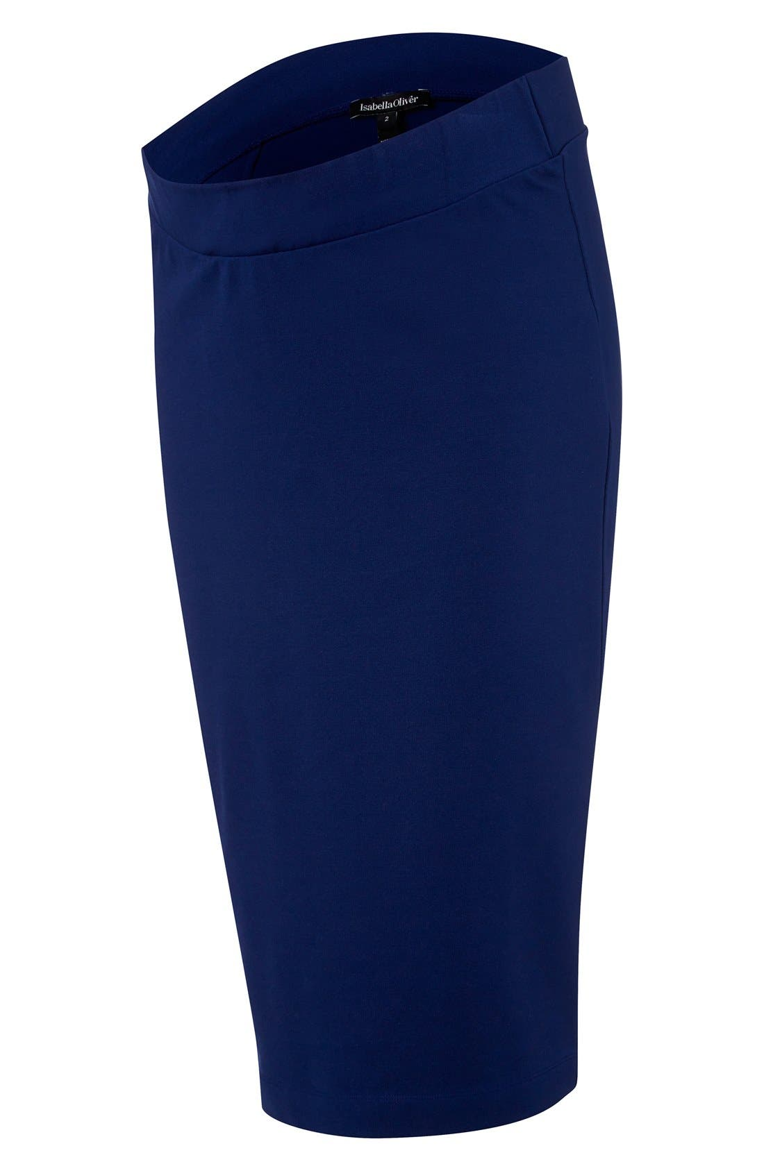 Maternity Pencil Skirt,                             Alternate thumbnail 2, color,                             Rich Navy