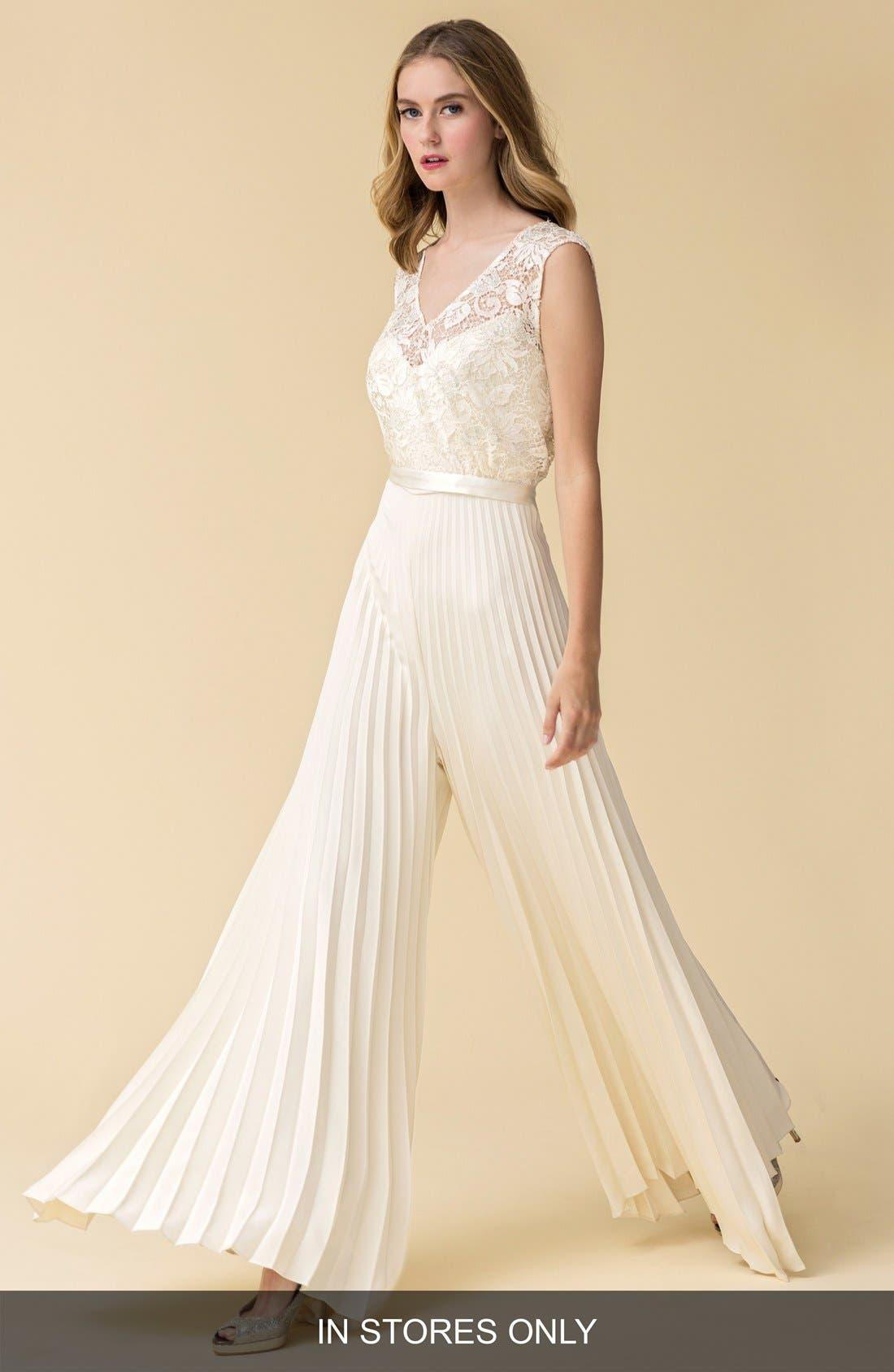 Caroline DeVillo 'Audrey' Pleat Wide Leg Silk Jumpsuit (In Stores Only)