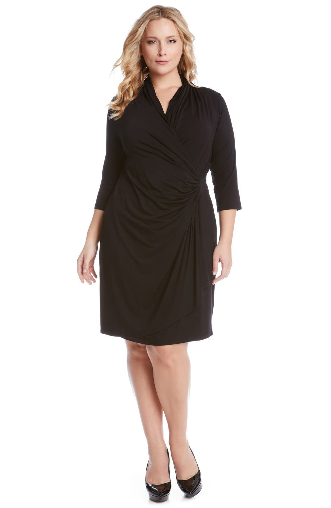 Three Quarter Sleeve Jersey Cascade Faux Wrap Dress,                             Alternate thumbnail 3, color,                             Black