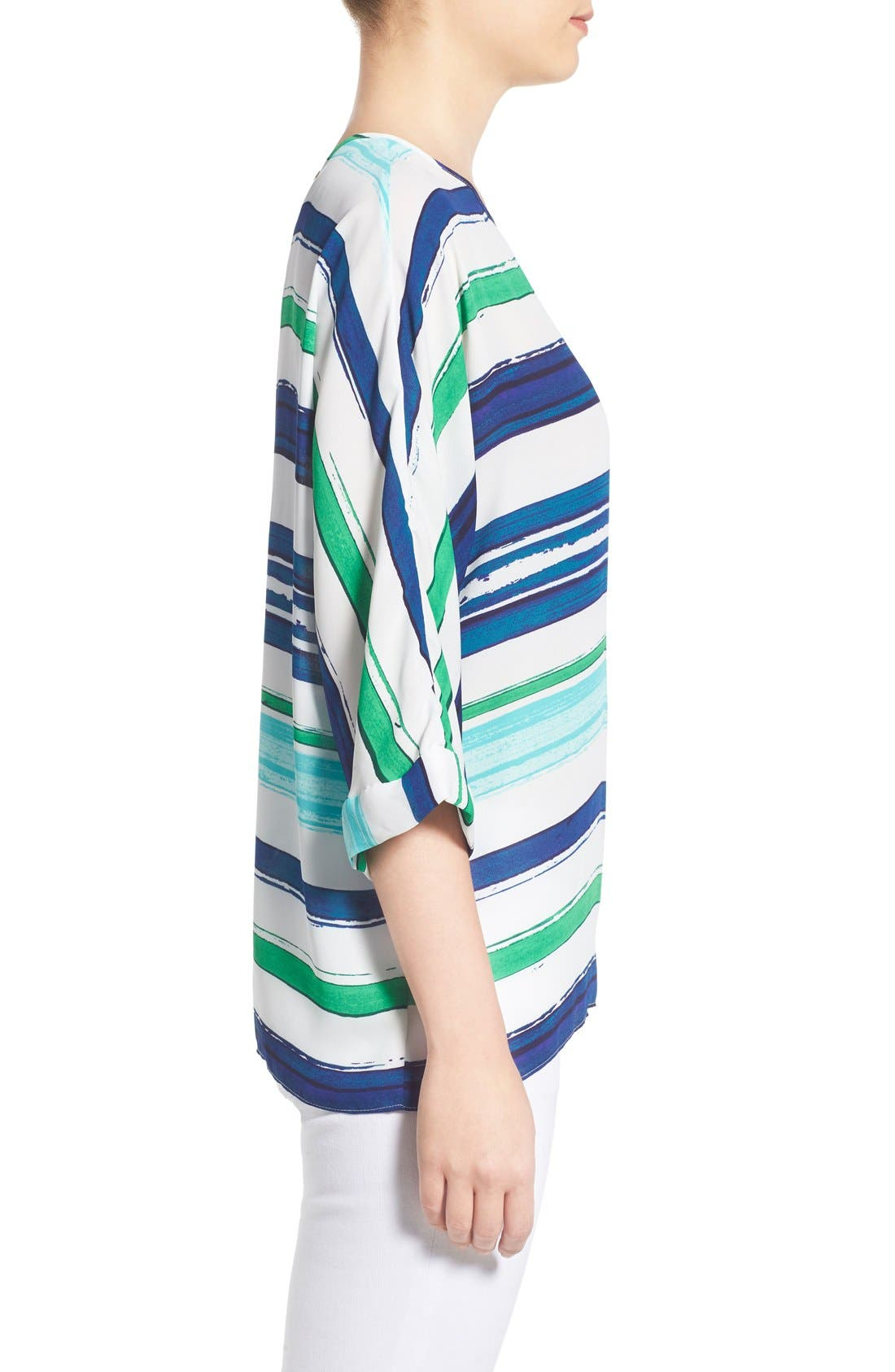 Alternate Image 3  - Chaus Stripe High/Low Blouse