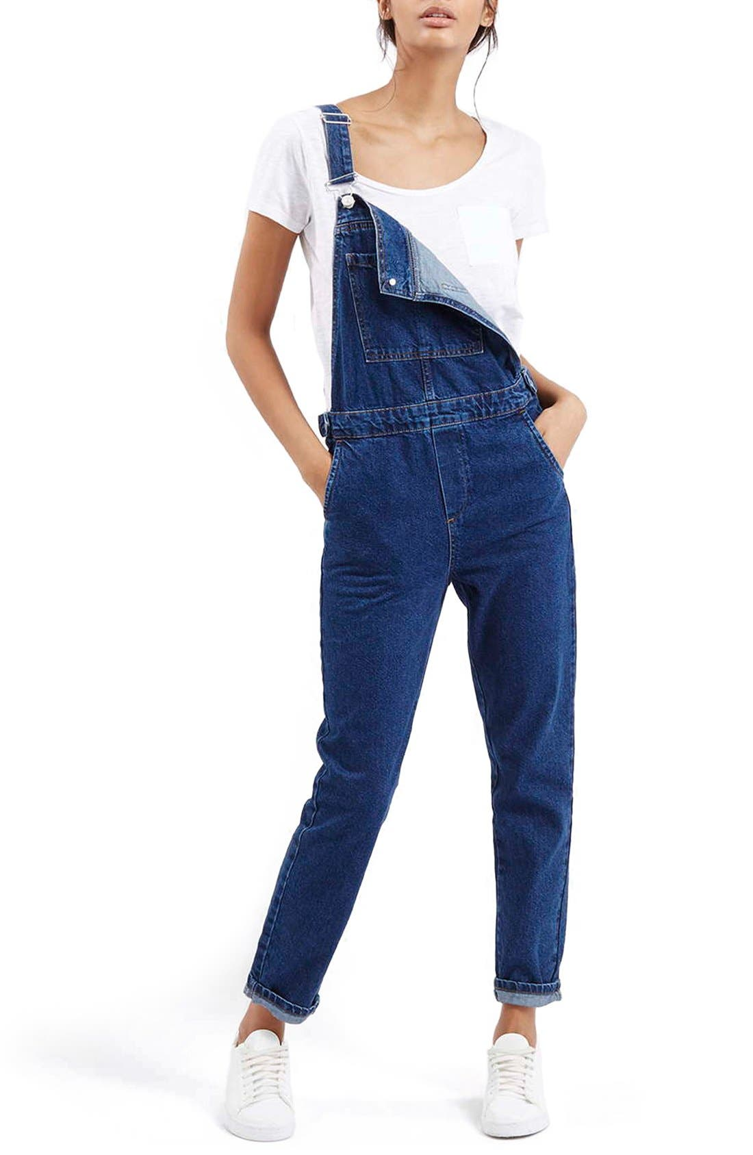 Main Image - Topshop Denim Overalls (Mid Denim)