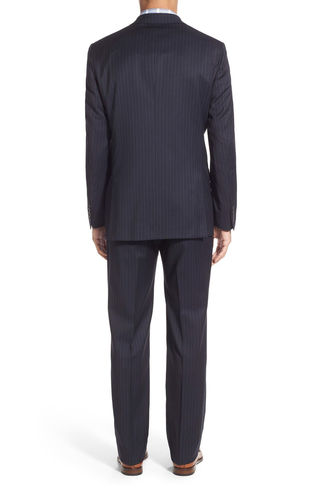 New York Classic Fit Stripe Wool Suit,                             Alternate thumbnail 2, color,                             Navy