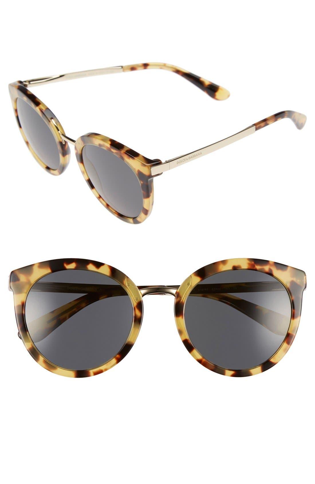 Main Image - Dolce&Gabbana 52mm Round Sunglasses
