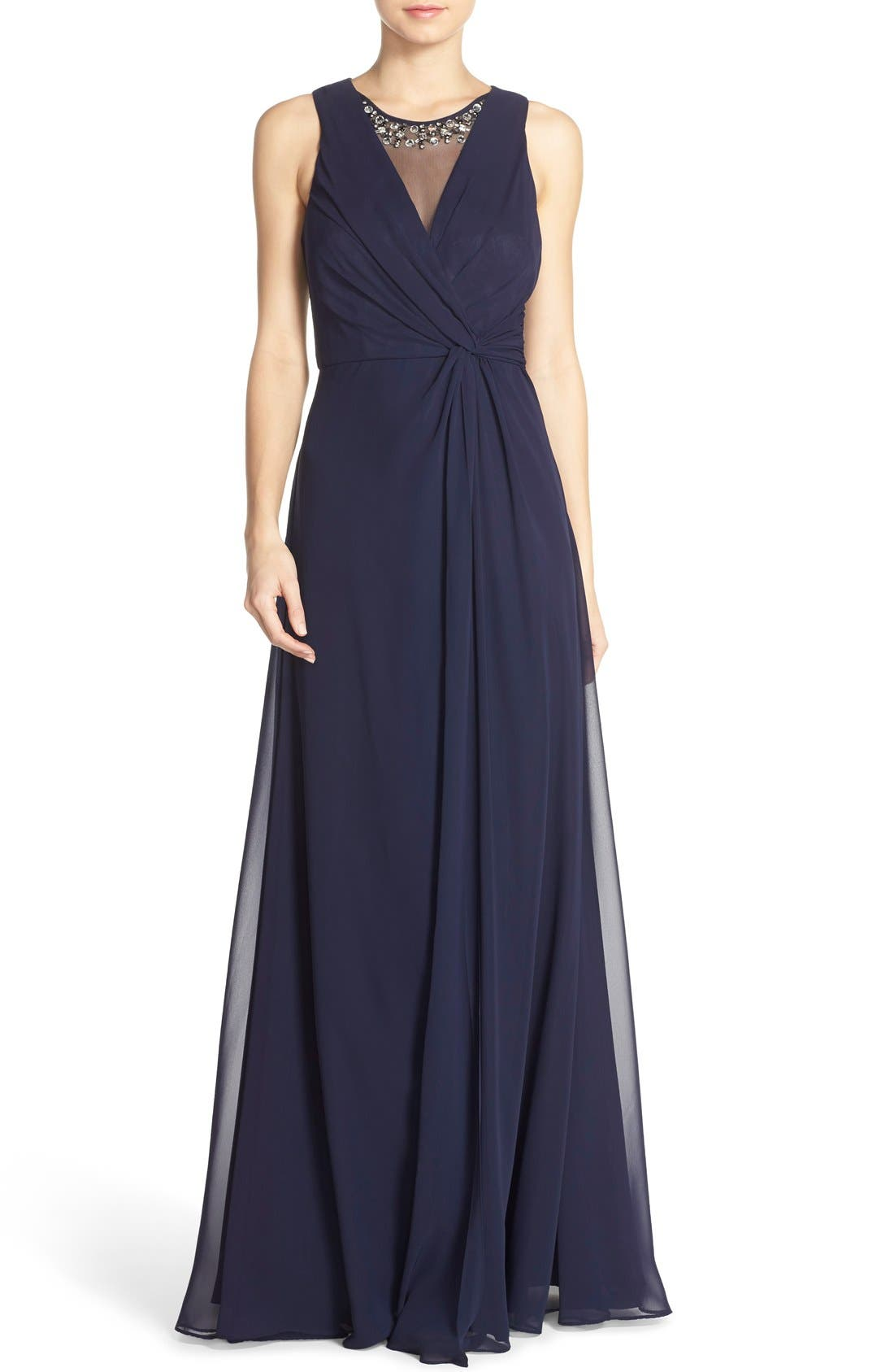 Embellished Chiffon Fit & Flare Gown,                         Main,                         color, Navy