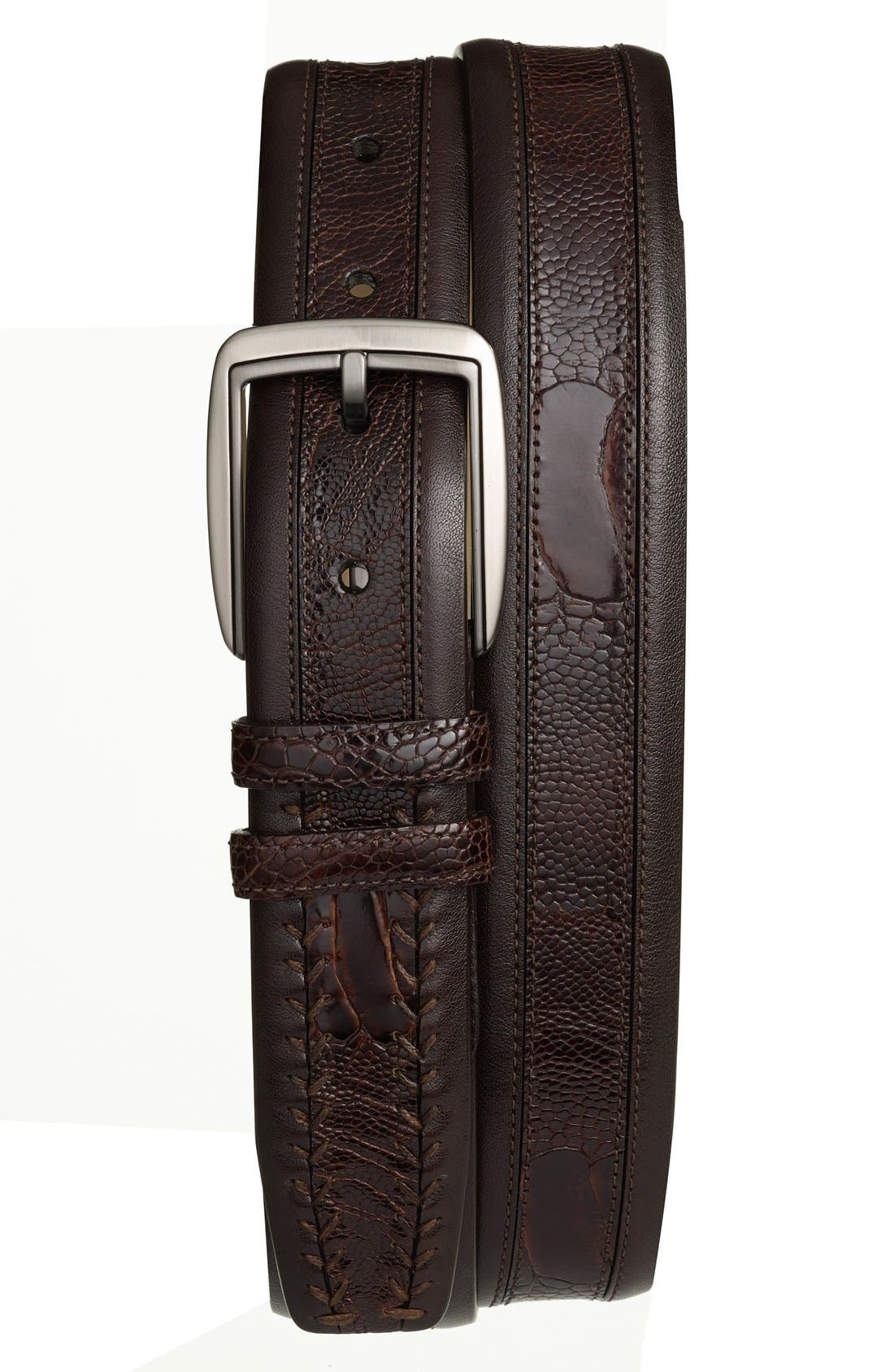 Mezlan Calfskin & Genuine Ostrich Leather Belt