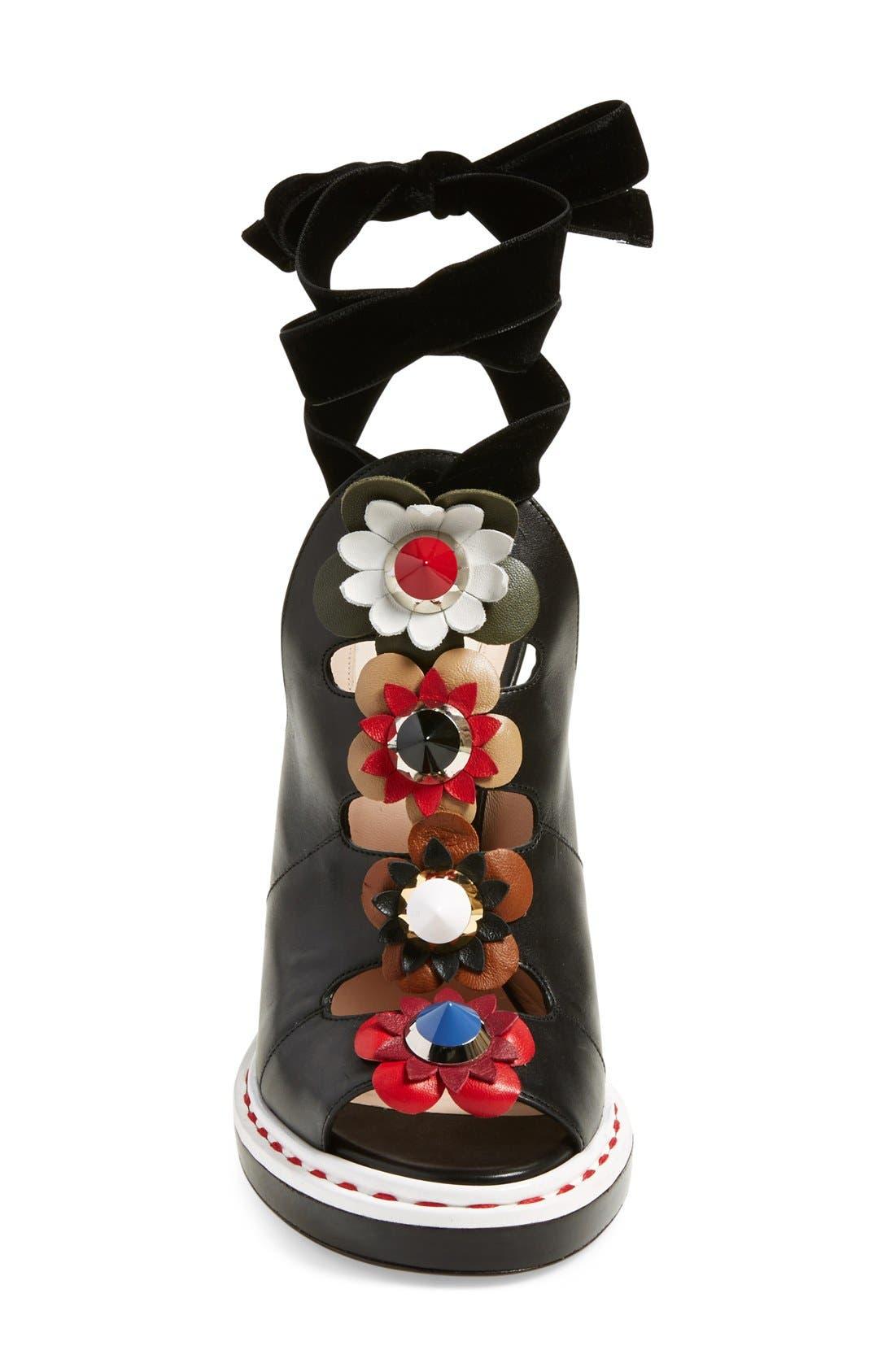 'Flowerland' Peep Toe Sandal,                             Alternate thumbnail 4, color,                             Black