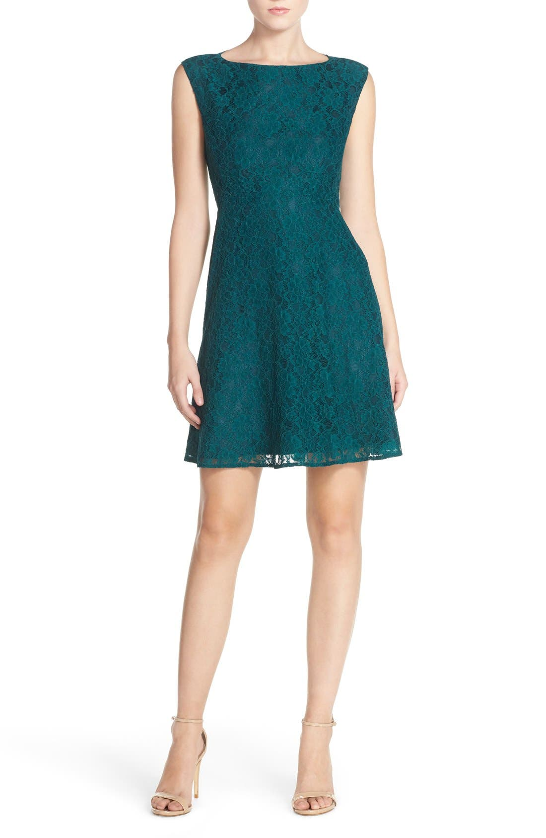 Fit & Flare Dress,                             Alternate thumbnail 2, color,                             Jewel Green