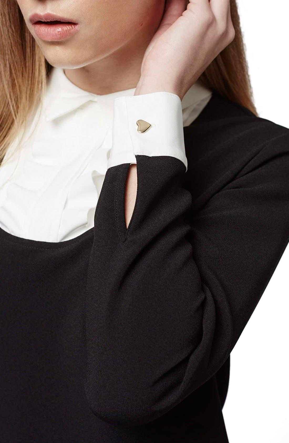 Ruffle Bib Shift Dress,                             Alternate thumbnail 5, color,                             Black Multi