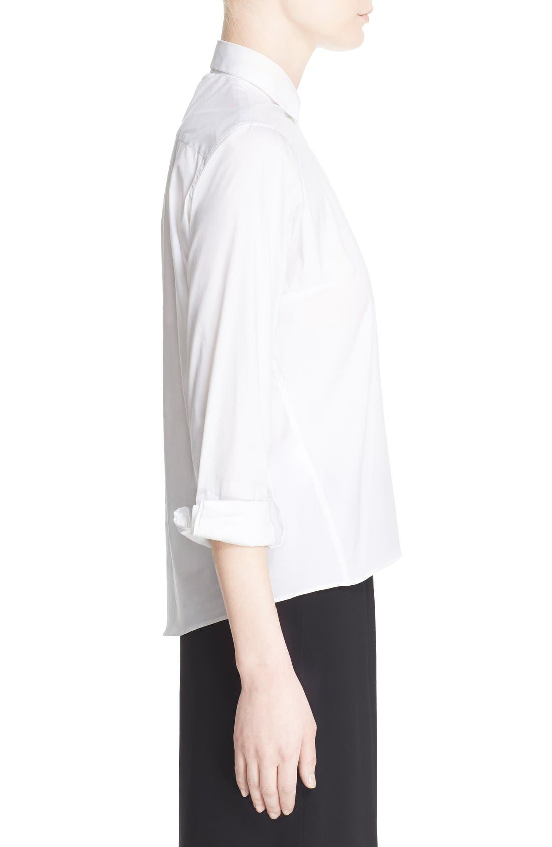 Keyhole Neck Poplin Shirt,                             Alternate thumbnail 4, color,                             White