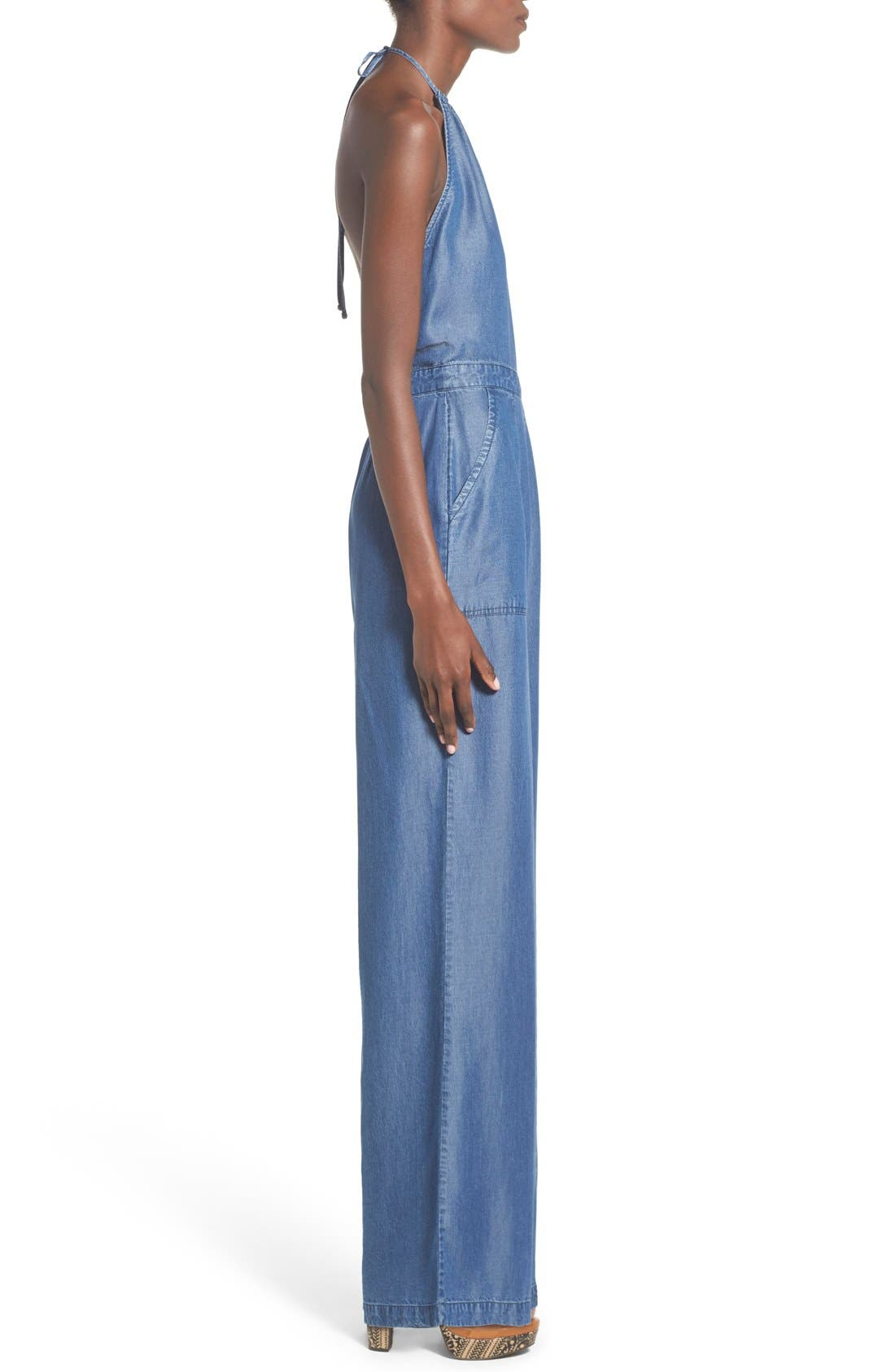 Alternate Image 3  - ASTR Chambray Halter Jumpsuit
