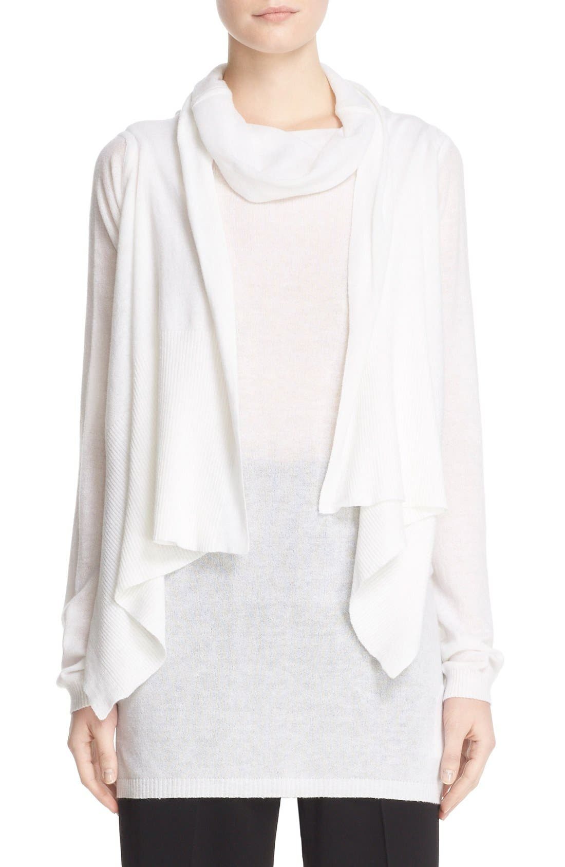 Alternate Image 1 Selected - Rick Owens Drape Front Cotton & Cashmere Cardigan
