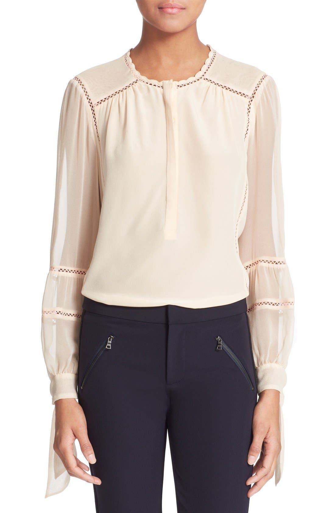 Alternate Image 1 Selected - Rebecca Taylor Long Sleeve Silk Blouse