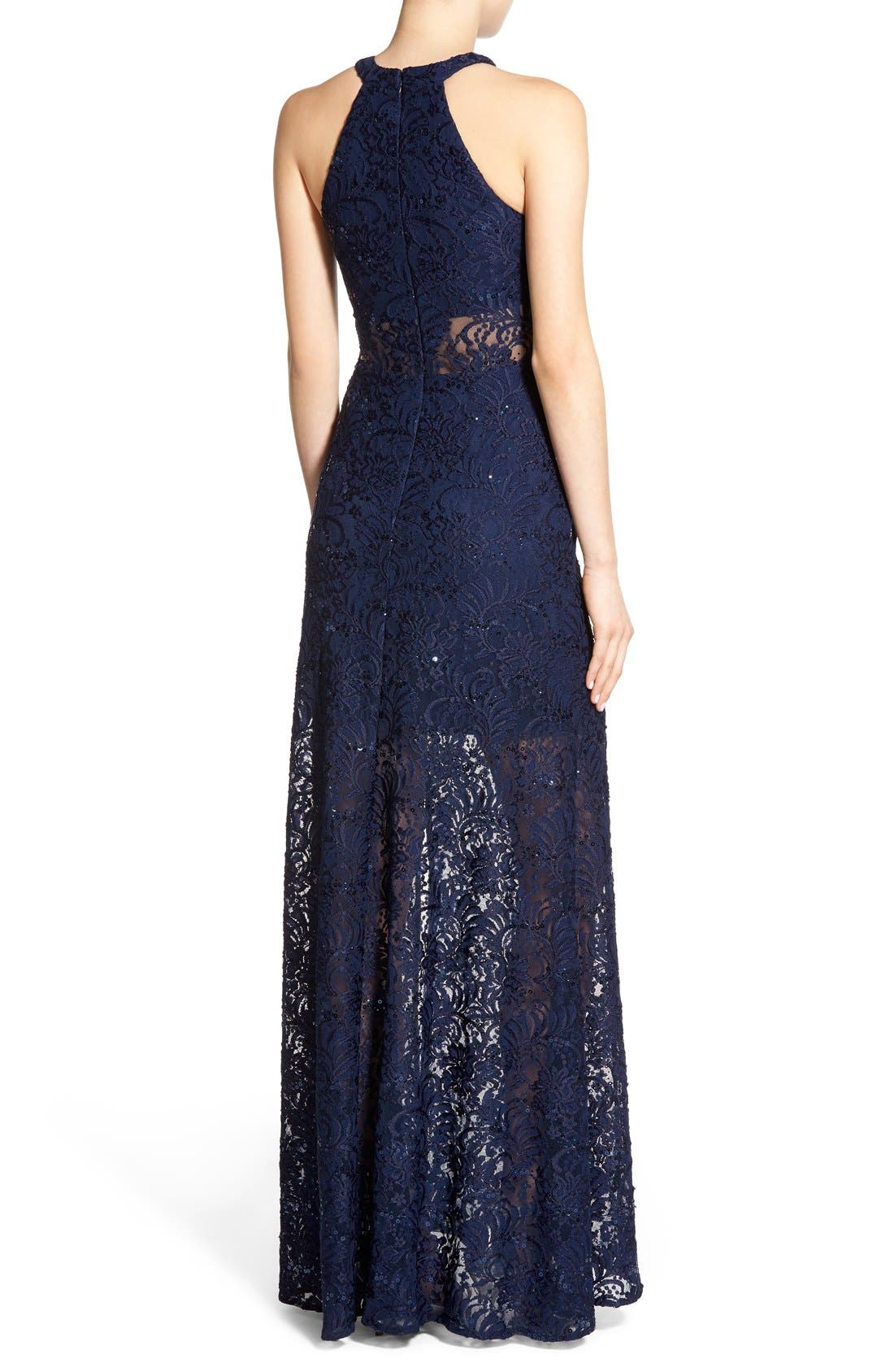 Alternate Image 2  - Morgan & Co. Sequin Lace Halter Gown