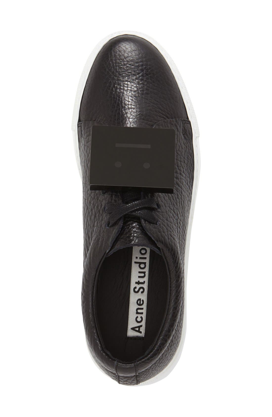 Adriana - Grain Leather Sneaker,                             Alternate thumbnail 3, color,                             Black Leather