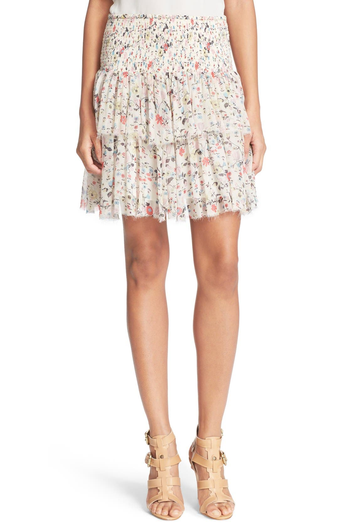 'Tapestry Grid' Floral Print Silk Skirt,                             Main thumbnail 1, color,                             Creamsicle