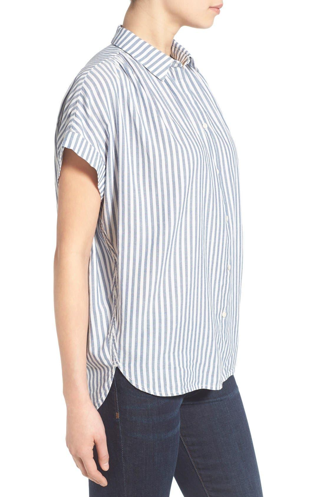 'Central' Stripe Cotton Shirt,                             Alternate thumbnail 3, color,                             Chambray Stripe