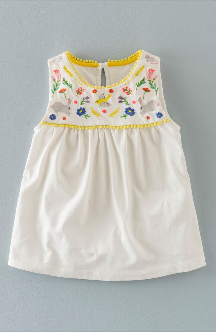 Mini boden 39 field friends 39 embroidered sleeveless tunic for Shop mini boden